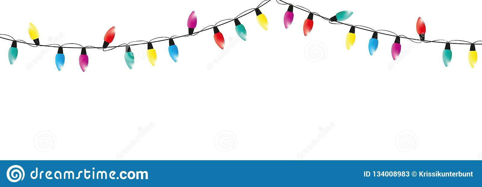 Christmas Fairy Lights Illustration.Colorful Christmas Fairy Lights Decoration On White