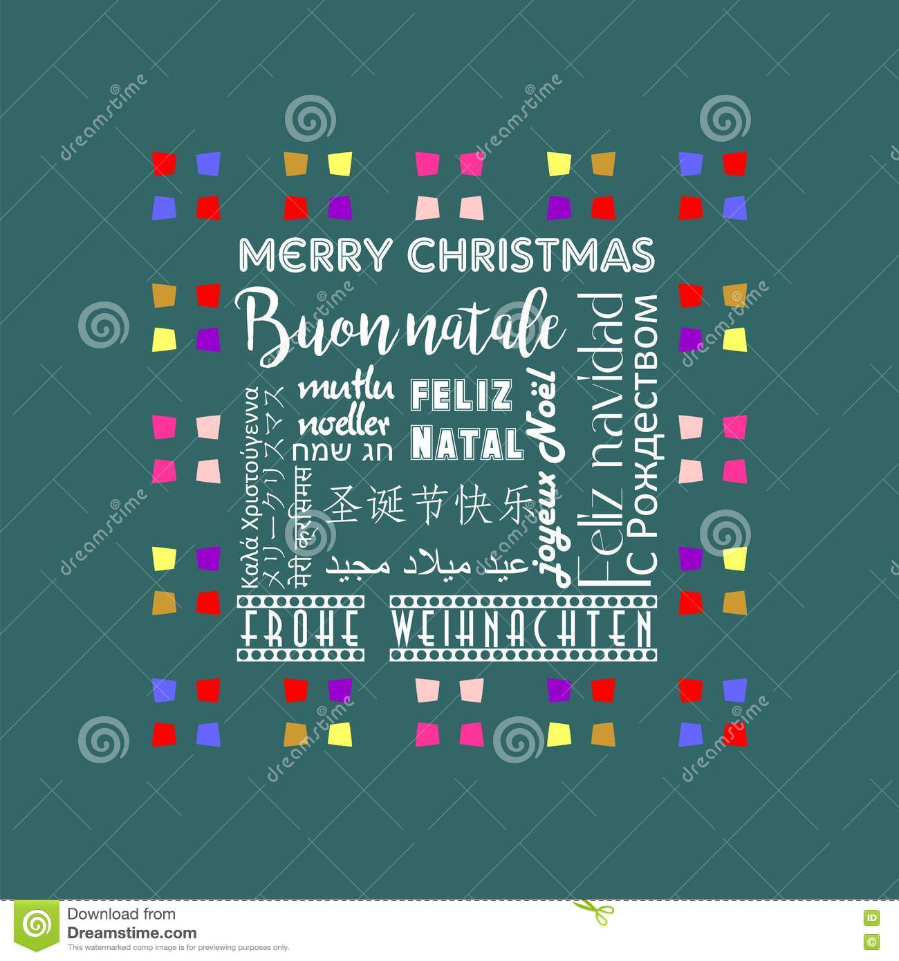 Colorful Christmas Greeting Card Written In Several Languages