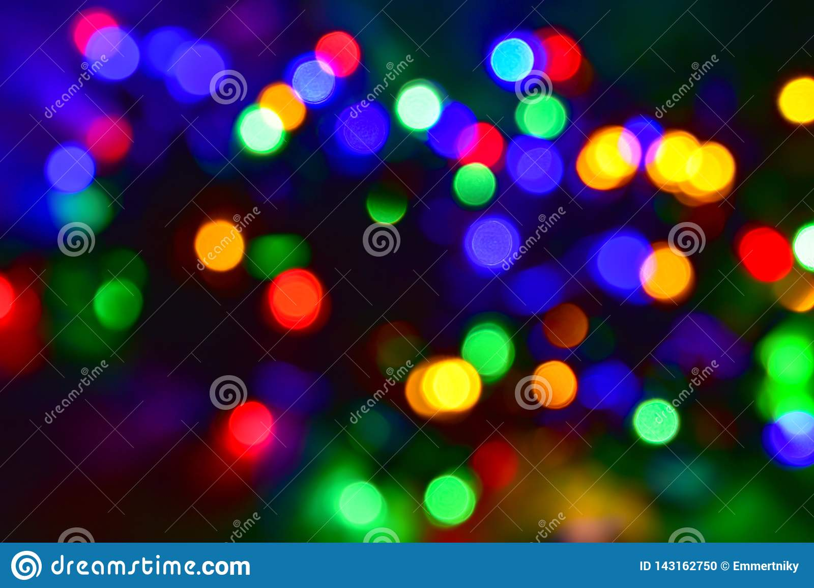 Colorful Christmas Lights Background.Colorful Christmas Lights Bokeh Abstract Background Stock