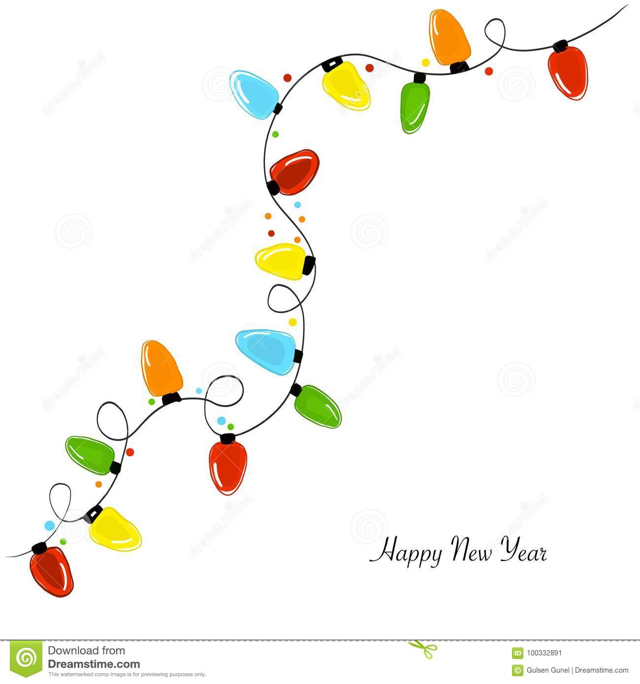 Colorful christmas lights. Happy new year and merry christmas background