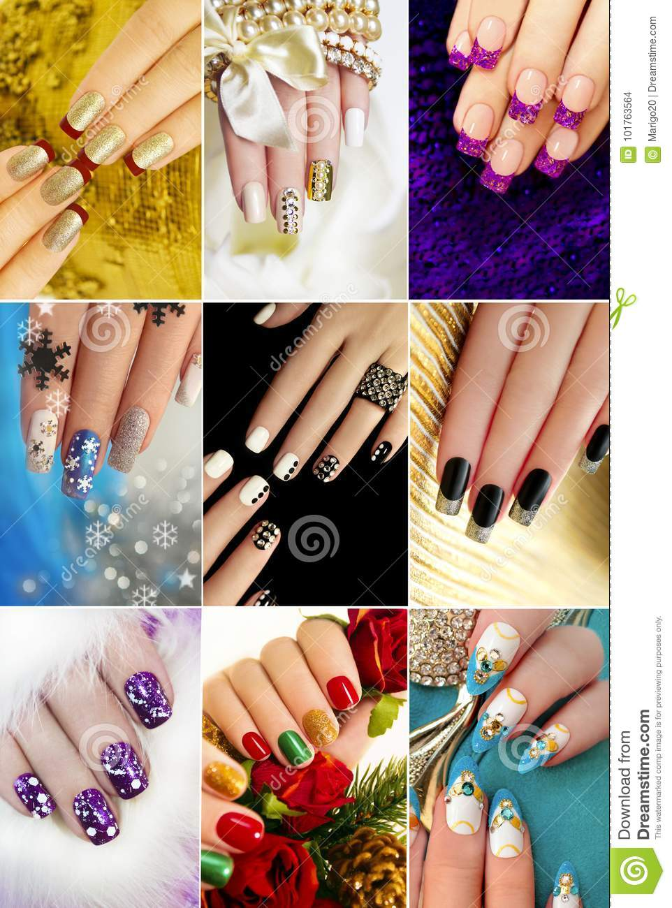 Colorful Christmas Nails Winter Nail Designs Stock Photo Image