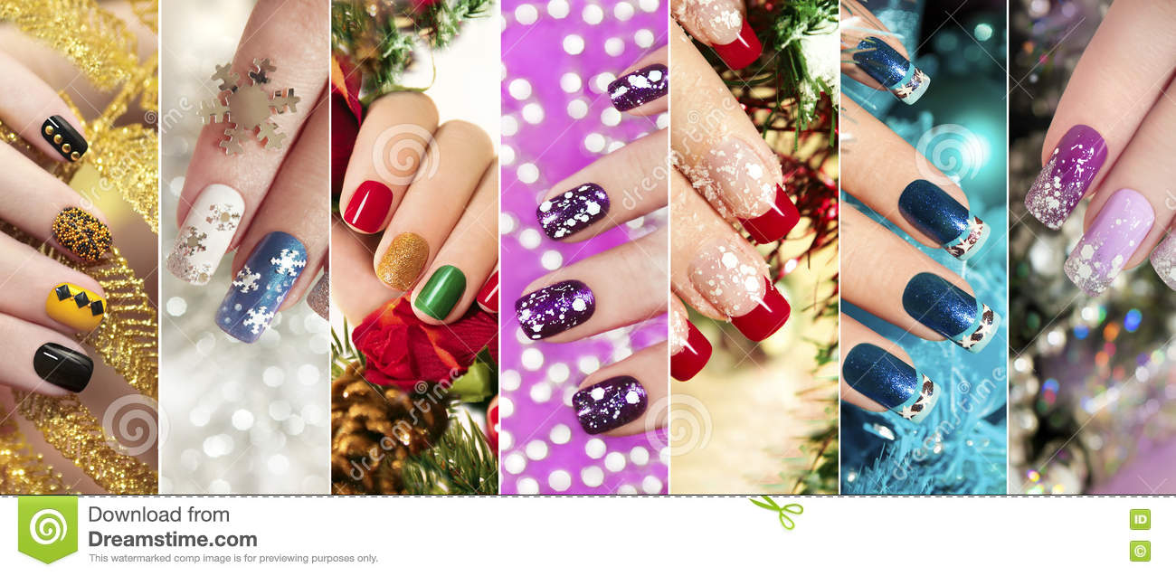 Colorful Christmas nails winter nail designs.