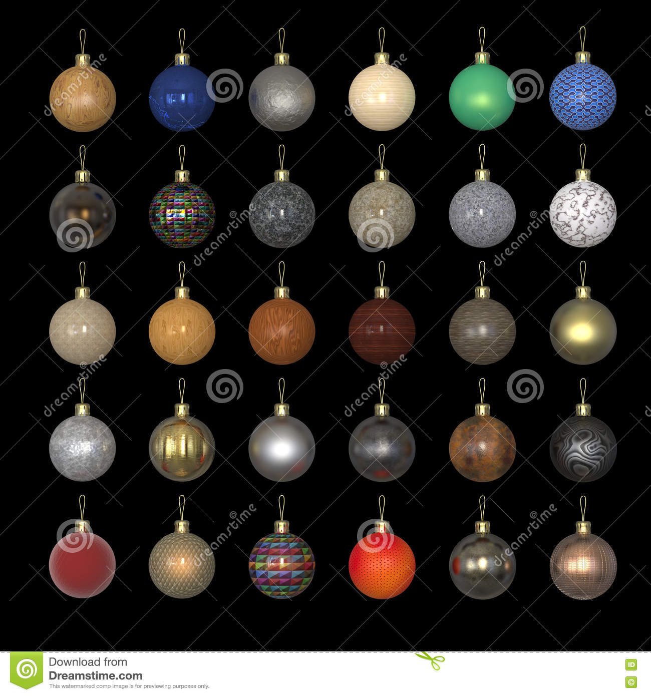 Colorful Christmas New Year Balls Made Out Of Different Materials On