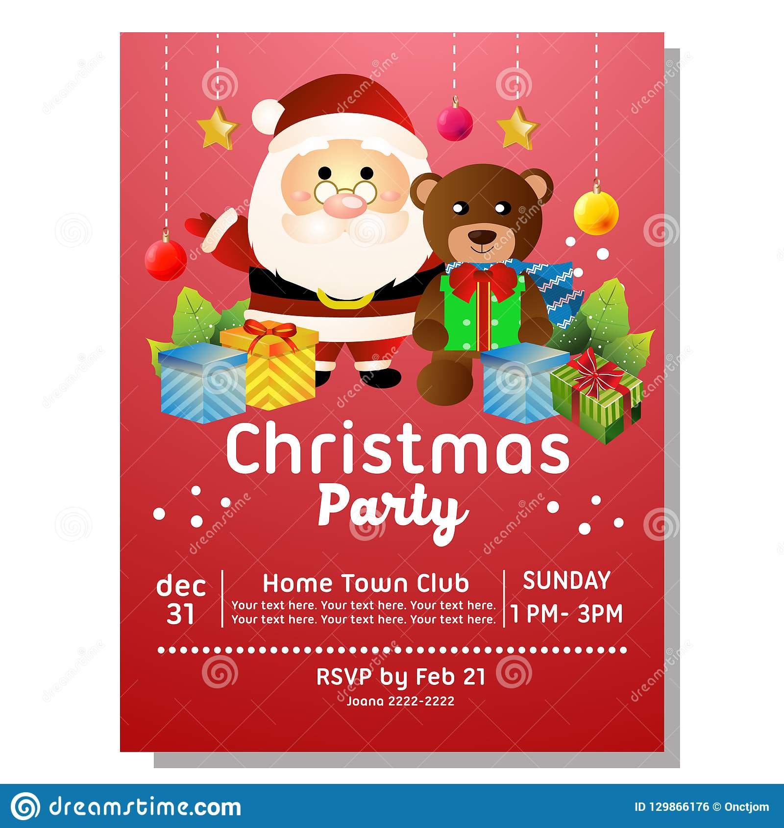 Colorful Christmas Party Invitation Card With Santa And Bear