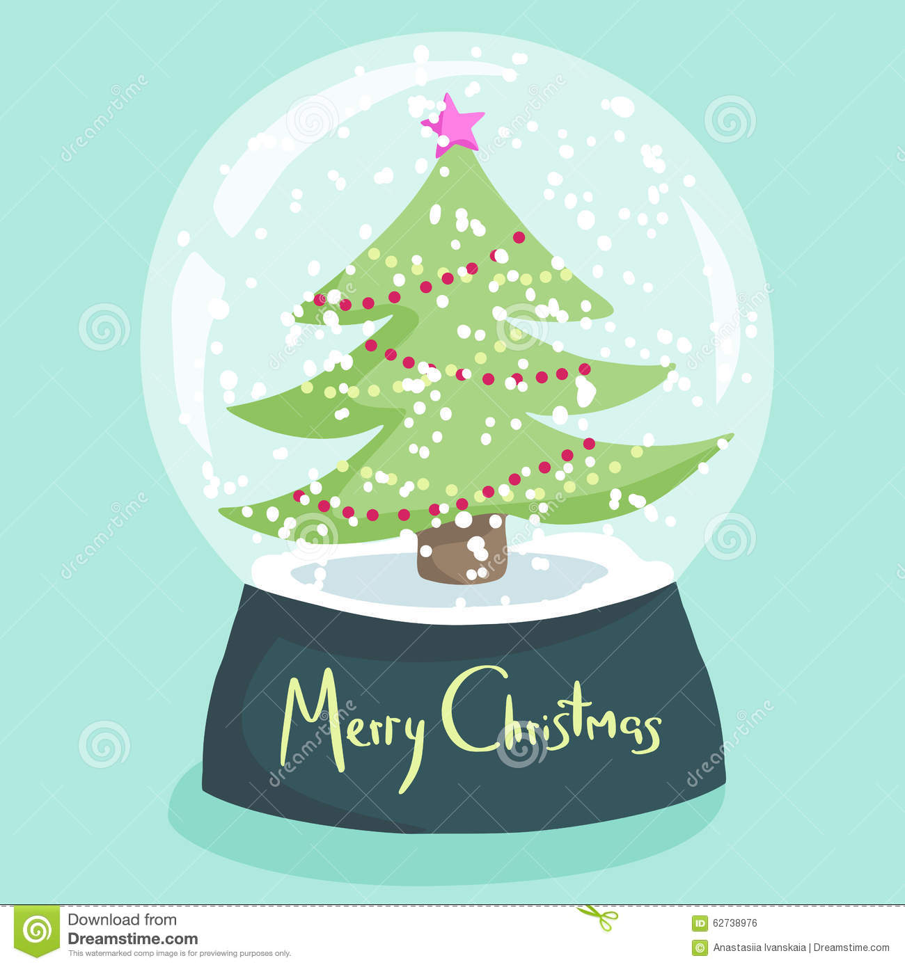 Colorful christmas poster with cartoon snow globe stock