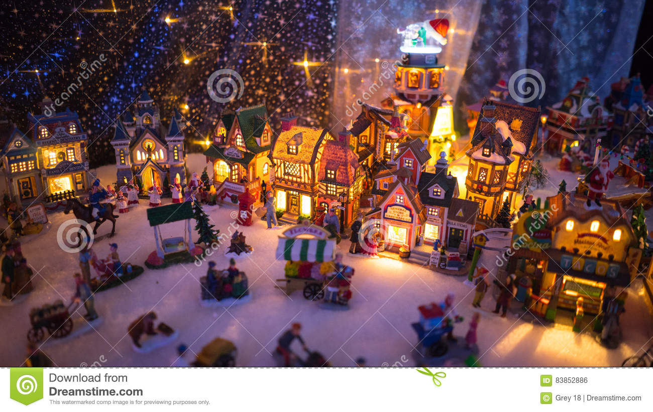 colorful christmas town night display - Miniature Christmas Town Decorations
