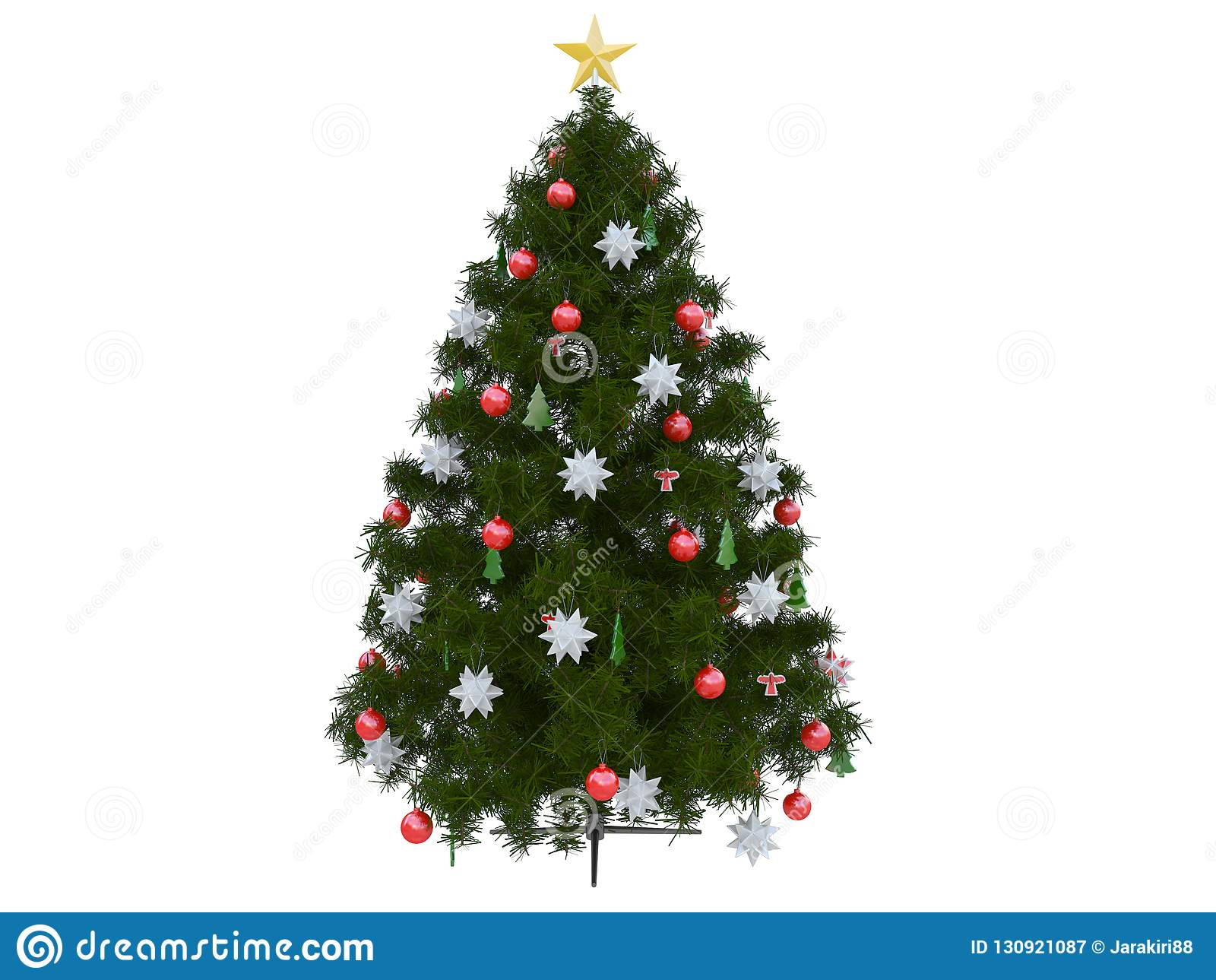 Colorful Christmas Tree With Christmas Balls Decoration White And Red And A Silver Ribbon 3d Rendering Stock Illustration Illustration Of Golden Background 130921087