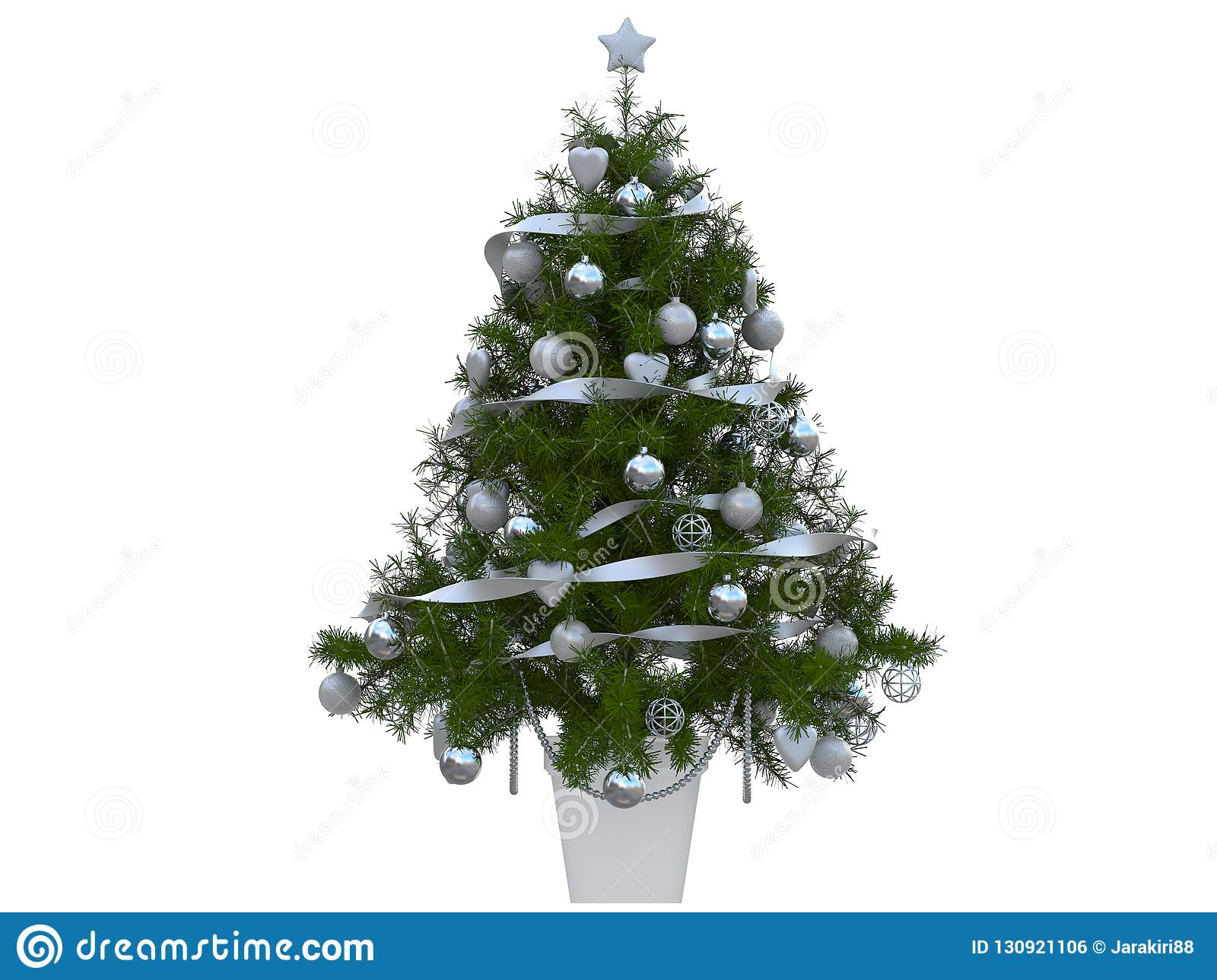 Colorful Christmas Tree With Christmas Balls Decoration White And