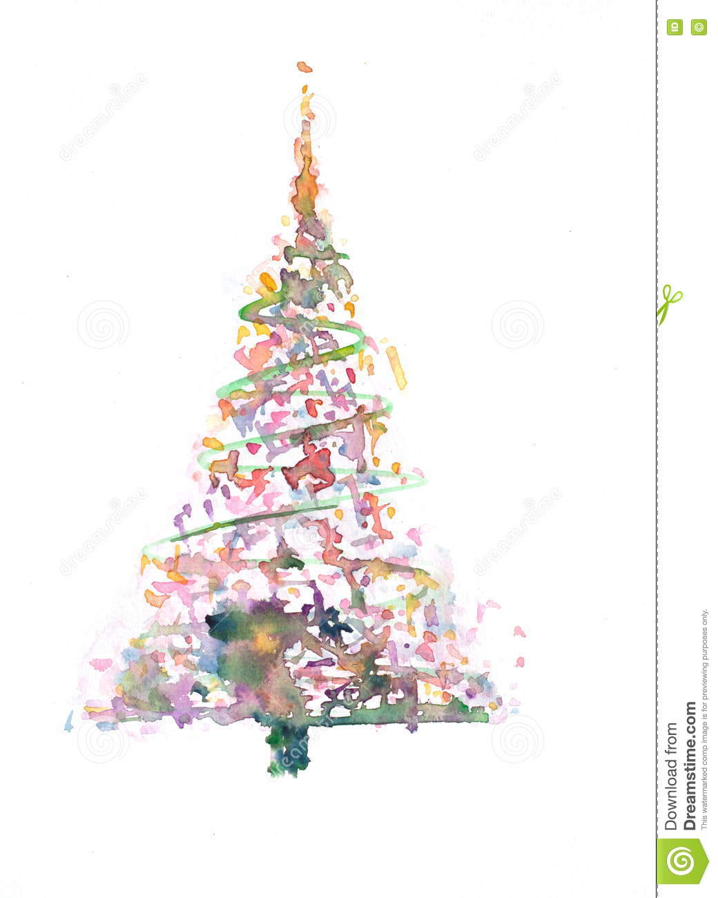 Colorful Christmas Tree With Decoration Stock Illustration Illustration Of Watercolor Colorful 77750104