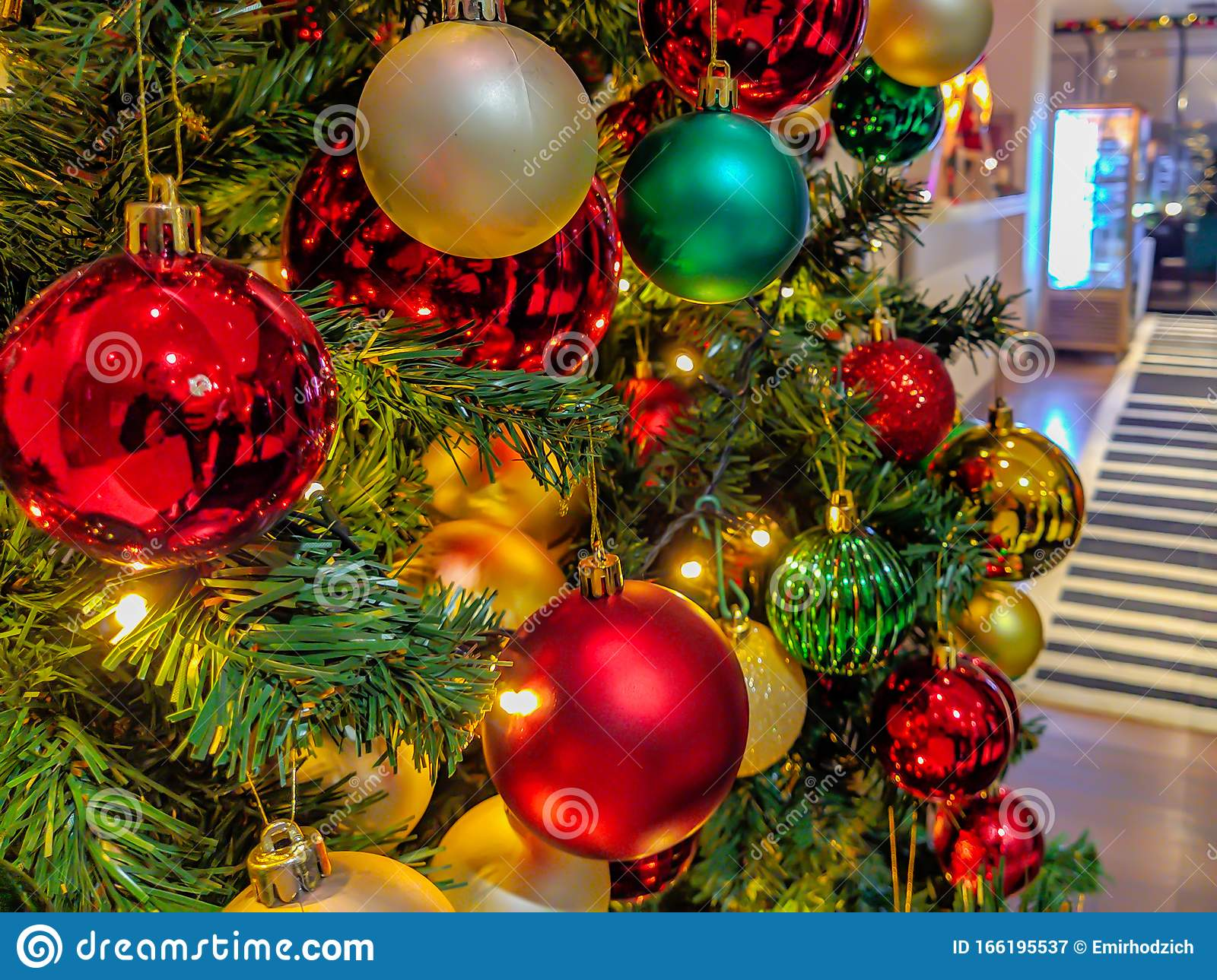 Colorful Christmas Tree Decorations And Ornaments In A Work Place Setting With Shiny And Gold Style For Winter Holidays Stock Image Image Of Background Green 166195537