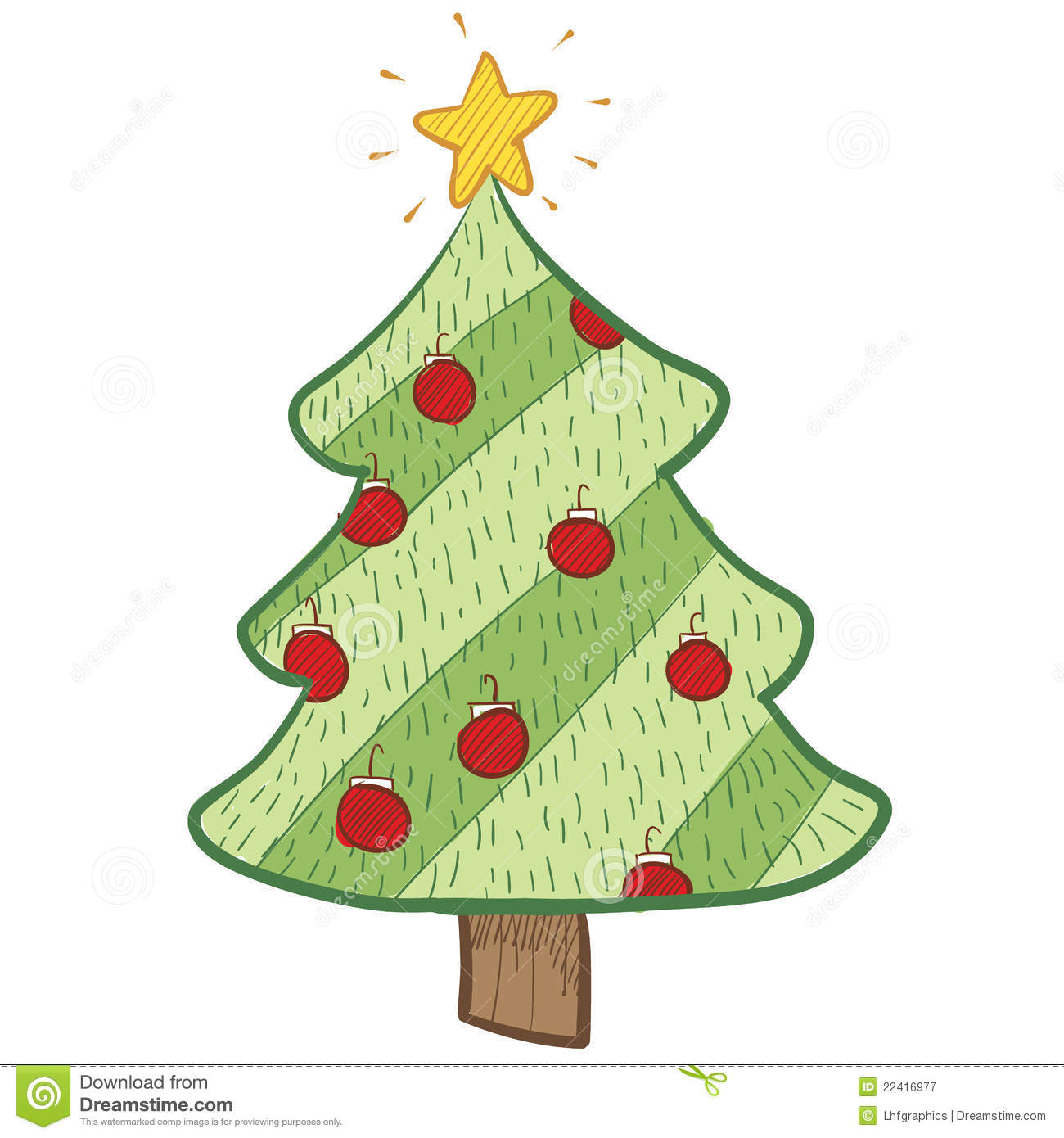 Colorful Christmas Tree Drawing Stock Vector - Illustration of ...
