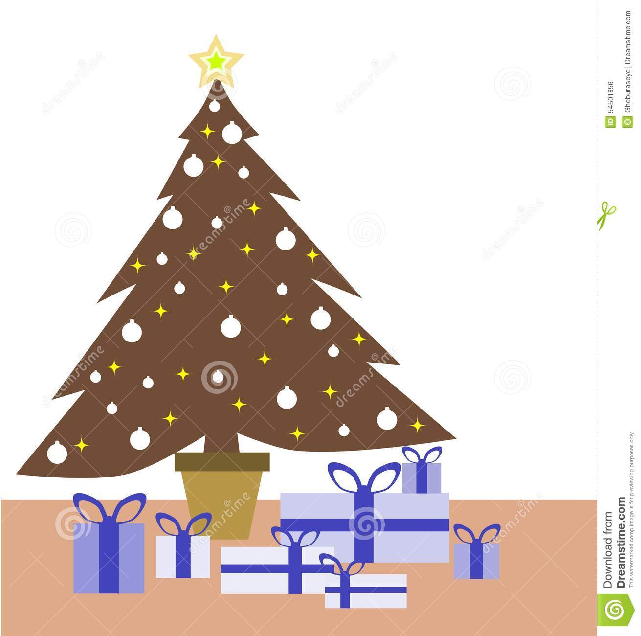 Colorful Christmas Tree And Gifts Stock Vector