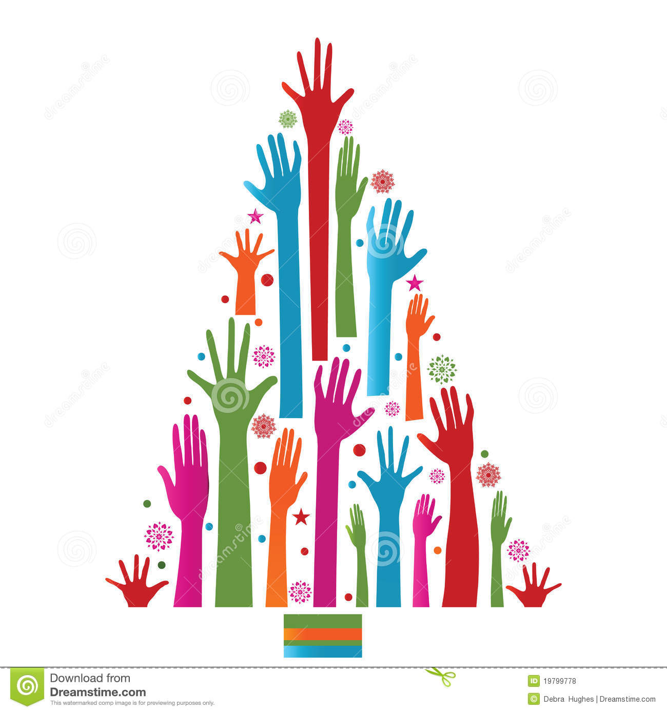 Colorful christmas tree of hands royalty free stock photos image - Colorful Christmas Tree Of Hands Royalty Free Stock Photos