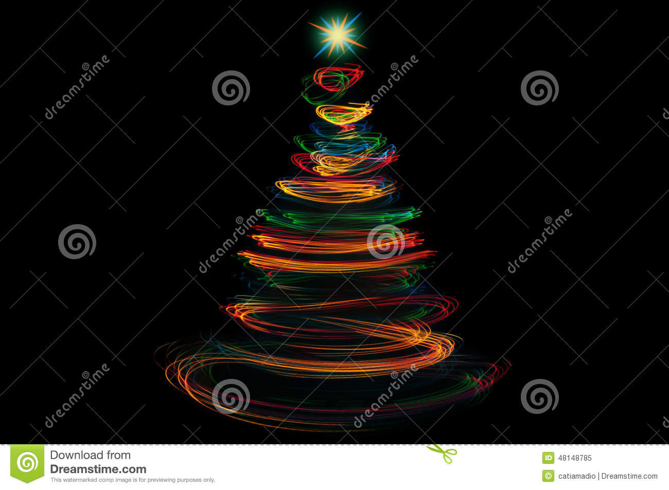 Colorful Christmas Tree Light Painting Stock Image Image Of Forming Holidays 48148785