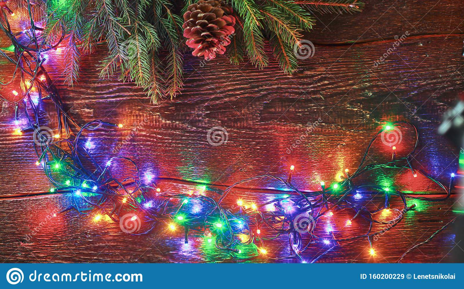 Colorful Christmas Tree Lights On White Natural Wooden Table Copy Space At The Bottom Flat Lay Top View Stock Image Image Of Card Gift 160200229