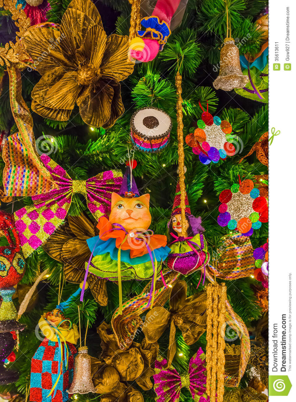 Colorful christmas tree ornaments and decorations stock for Colorful christmas tree decorations