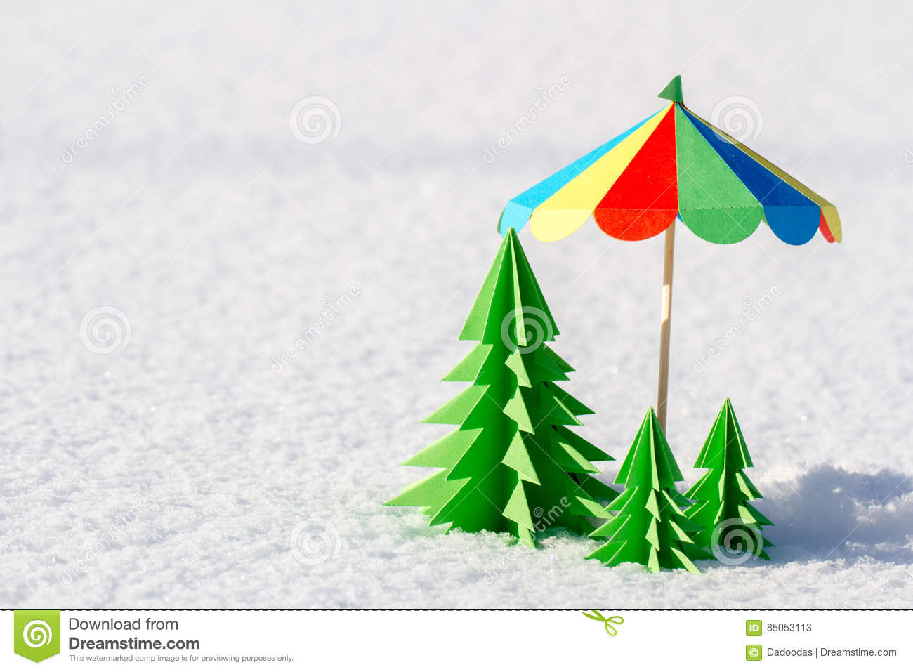 Colorful Christmas Tree Out Of Paper In The Snow. Stock Image ...