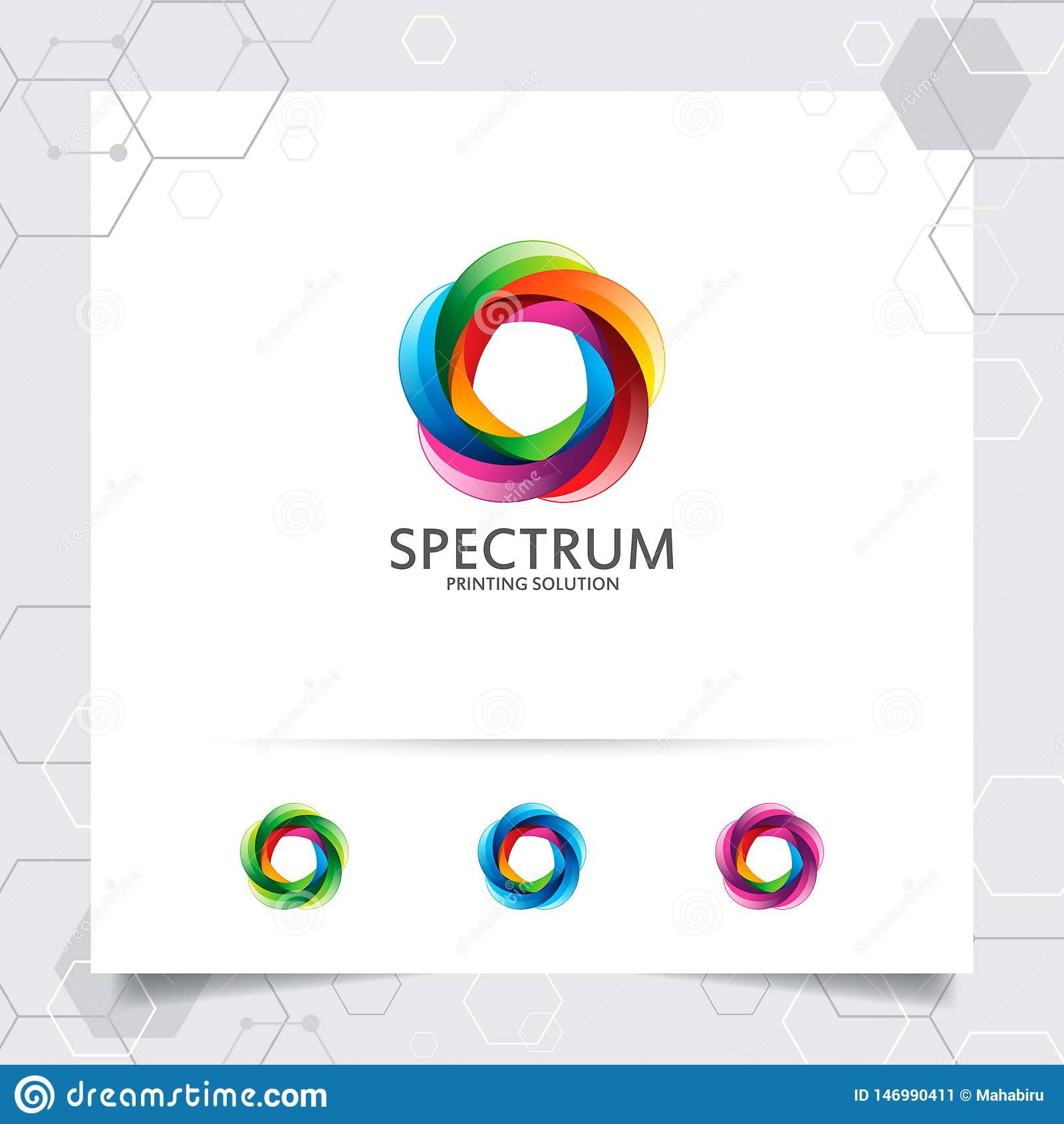 Colorful Circle Logo Design With Concept Of 3d Geometric Circle Abstract Colorful Vector Element Used For Printing And Stock Vector Illustration Of Geometric Background 146990411