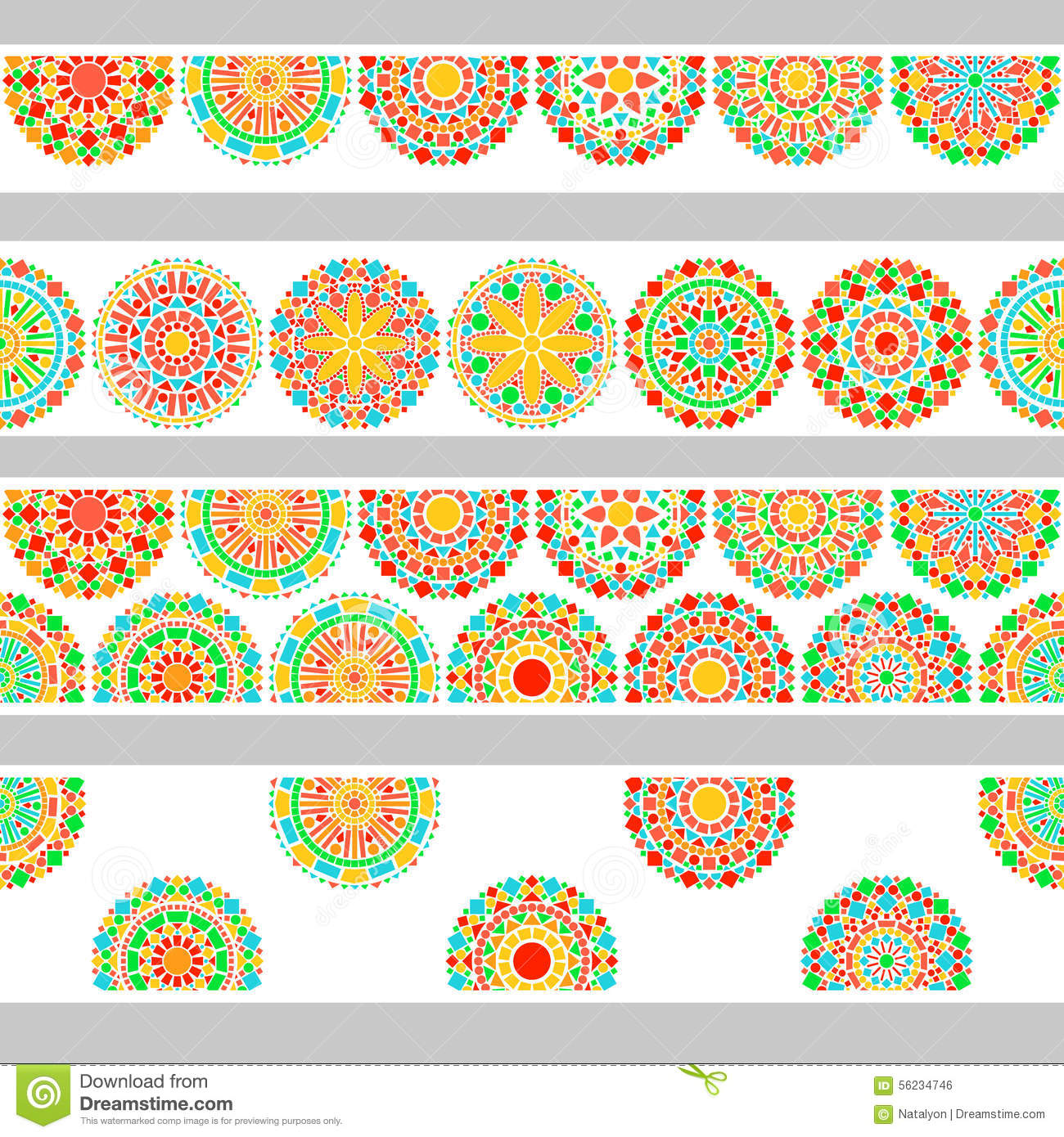 colorful circles floral mandala in green and orange on white seamless border  vector stock