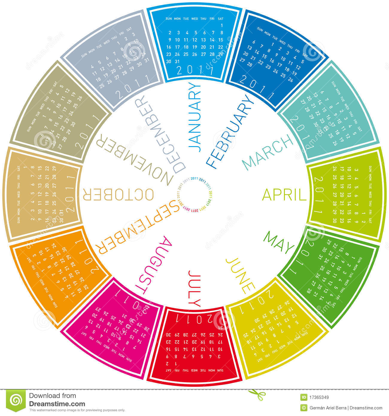 Colorful Circular Calendar 2011 Royalty Free Stock Images - Image ...