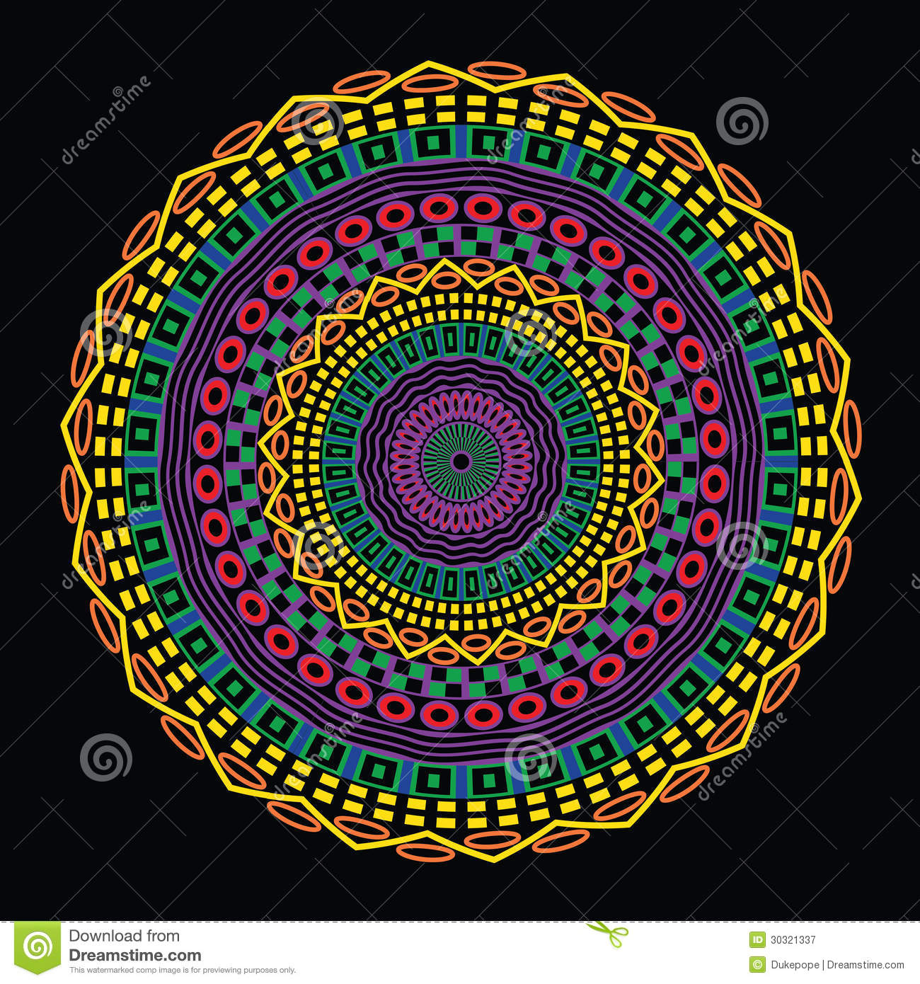 Colorful Circular Ethnic Design Royalty Free Stock