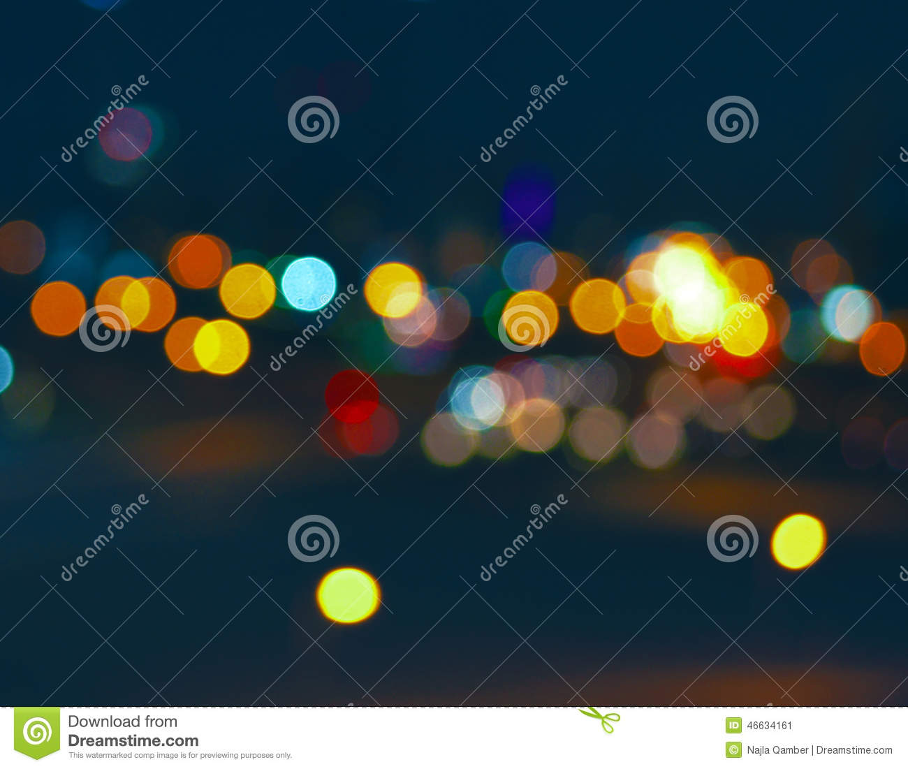 Wood Table Top On Blurred Beach Background Vintage Tone: Colorful City Bokeh On A Very Dark Background Stock Photo