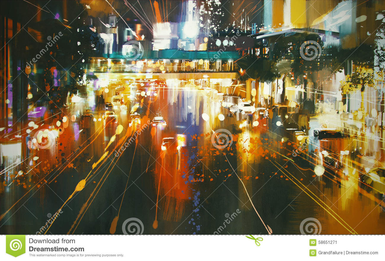 colorful city street at night stock illustration