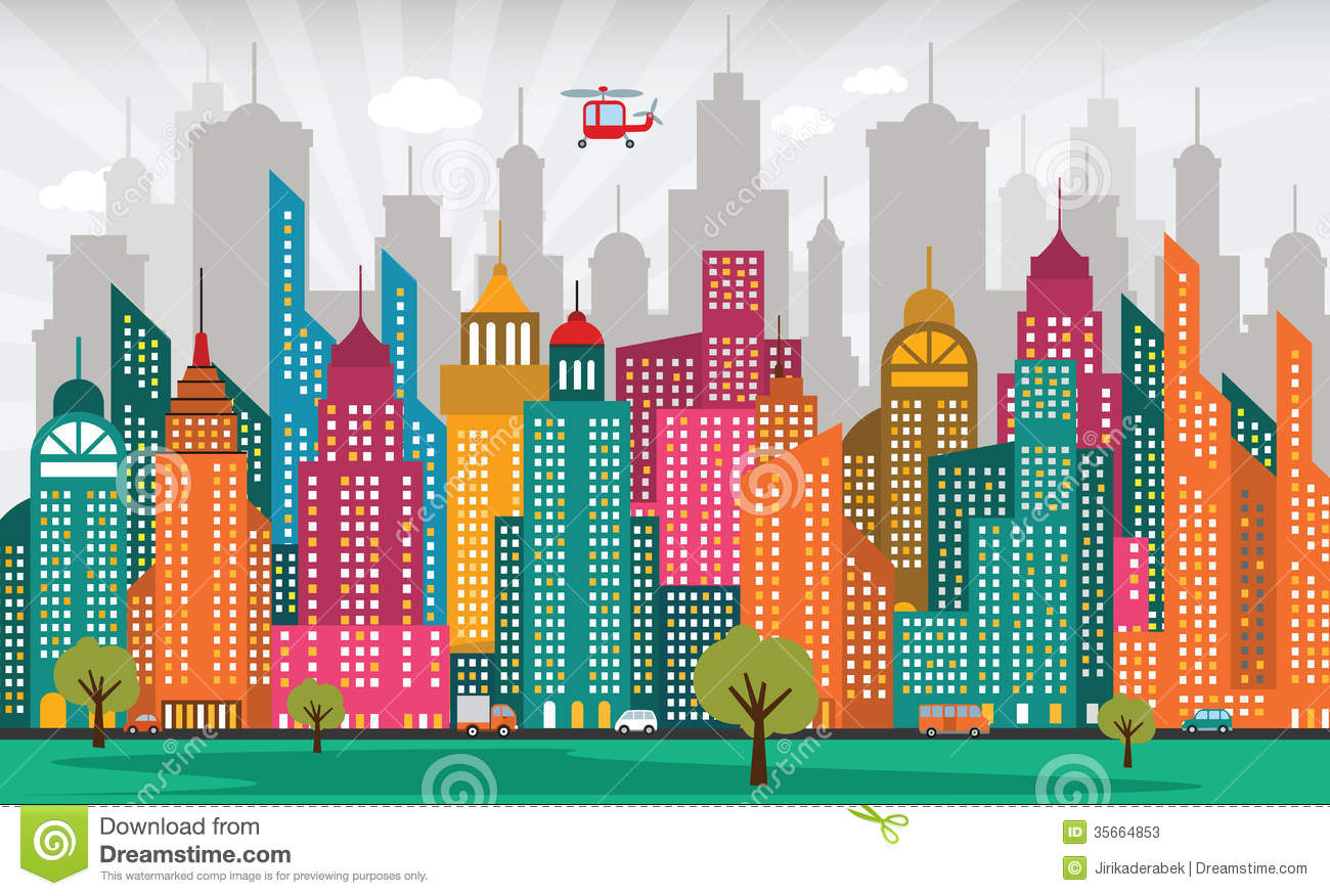Vector illustration of abstract colorful city life. Happy Child Clipart