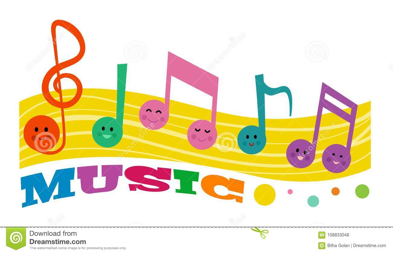 Cute Happy Music Notes Stock Vector Illustration Of Text 108833048