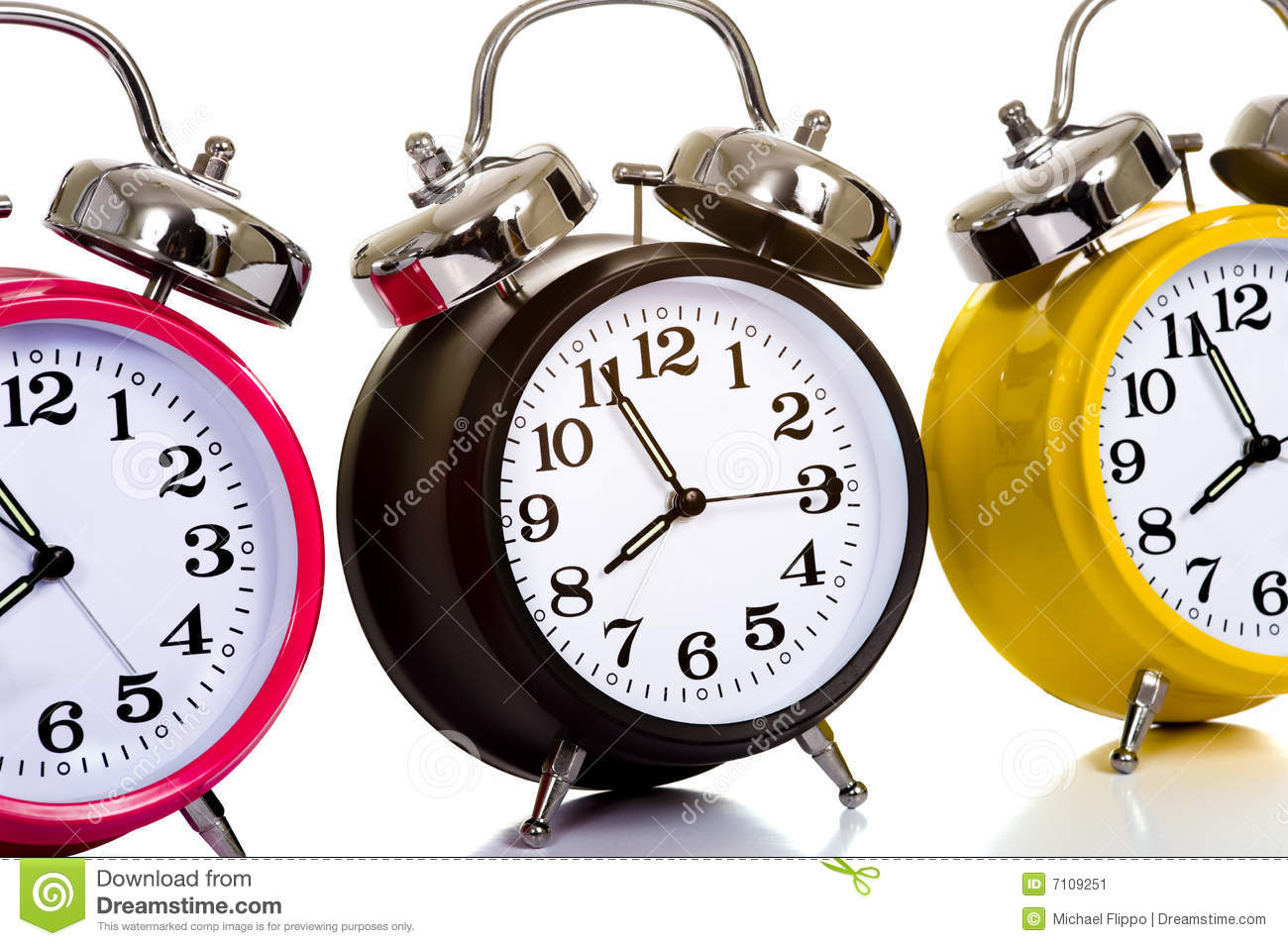 Colorful Clocks on White