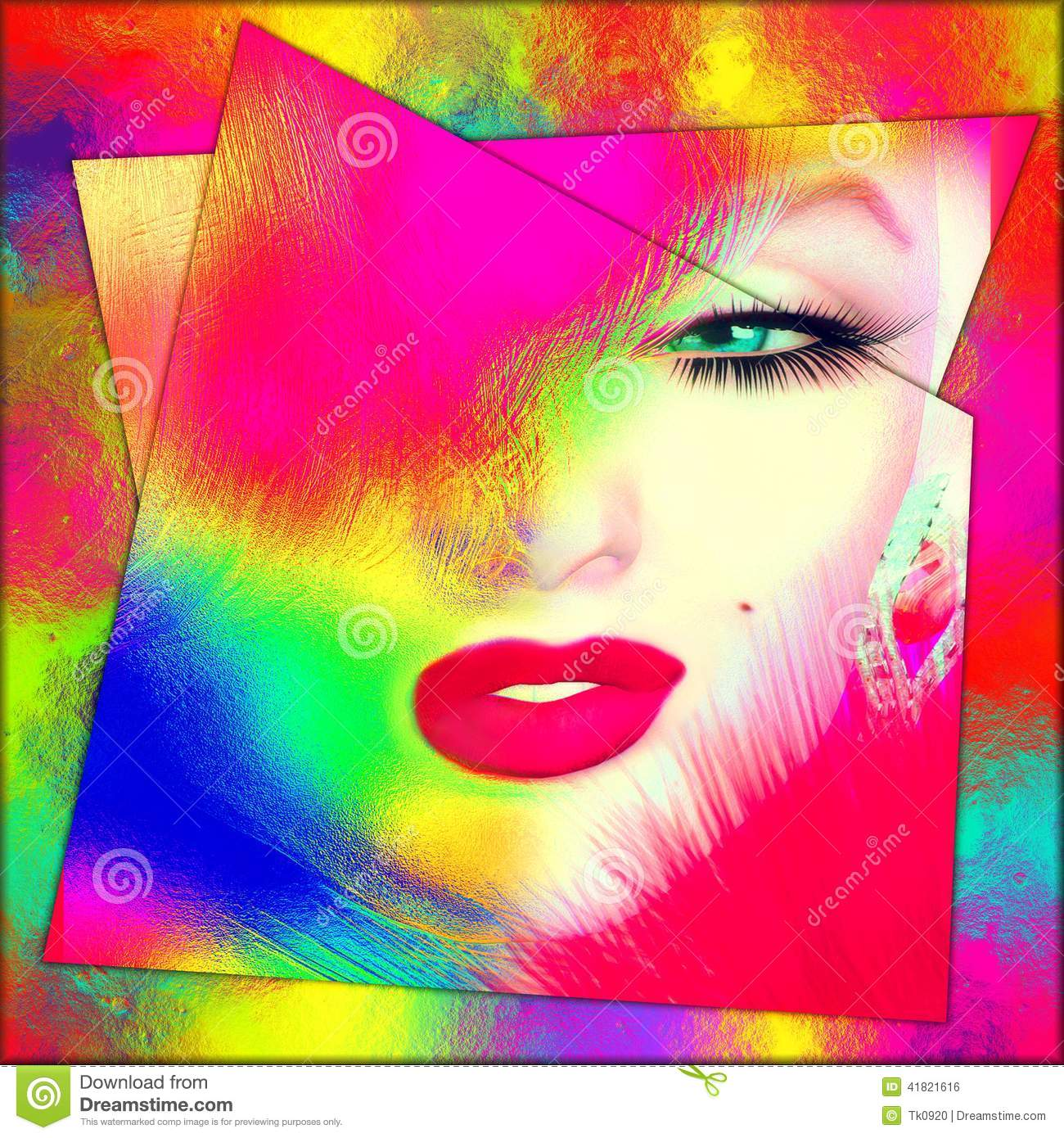 Blonde Bomb Shell, Abstract Colorful Close Up Face. Stock