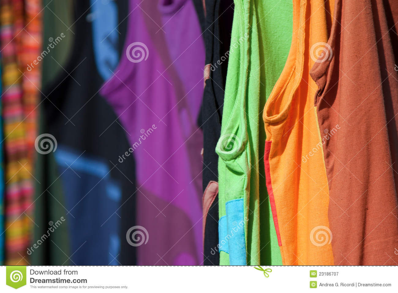 Colorful Clothes Hanging In A Market Stall Royalty Free ...