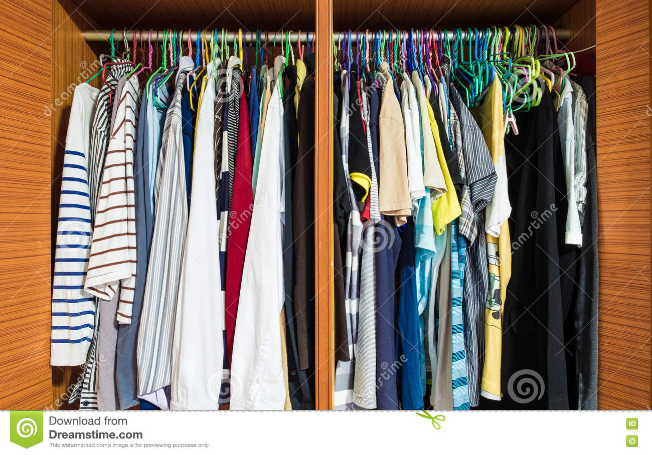 Colorful Clothes Men Hanging In Closet