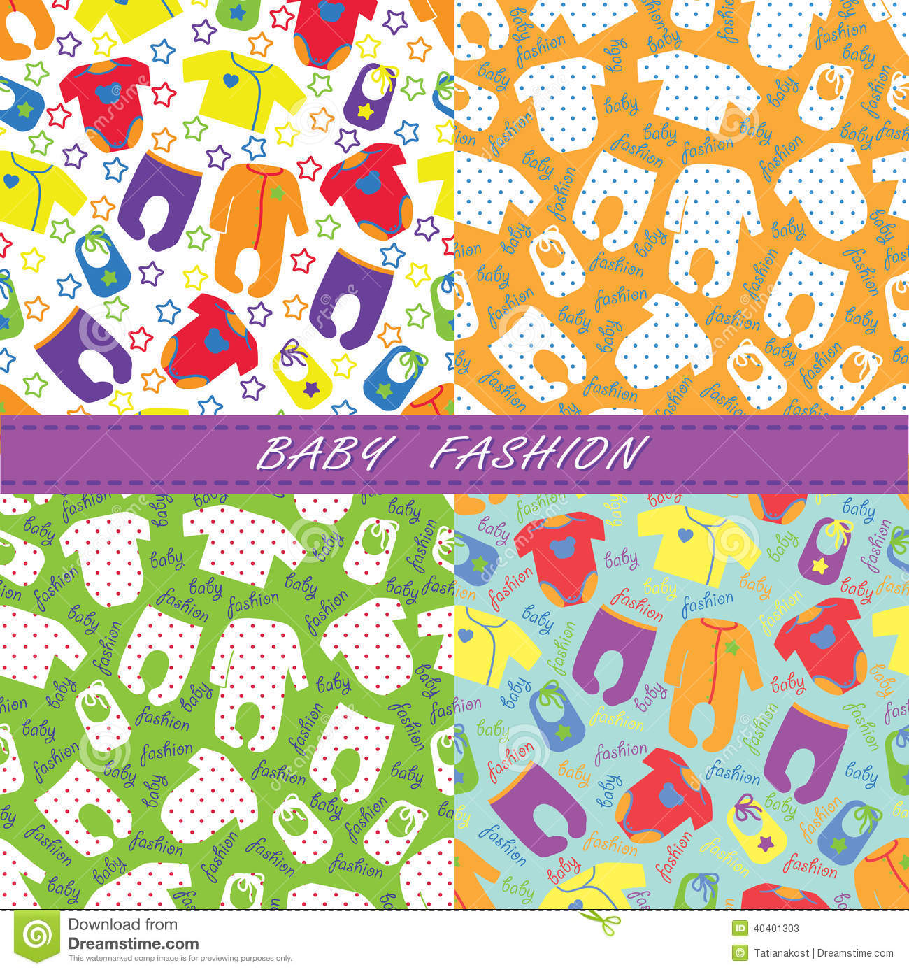 Colorful clothes for newborn baby in seamless pattern for Unisex baby fabric