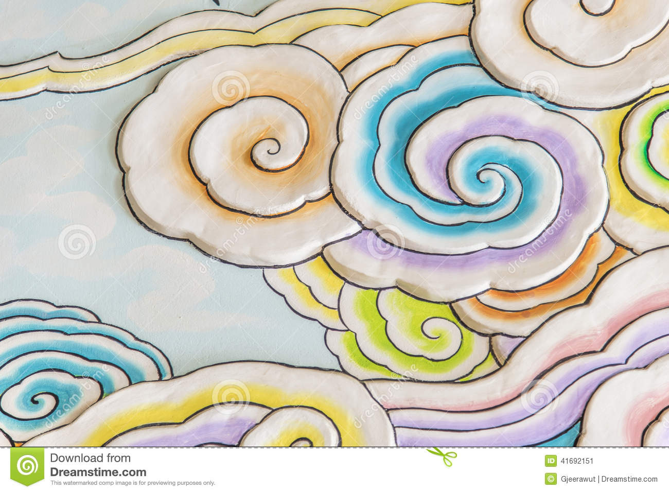 Colorful Cloud Art In Chinese Style Stock Image - Image ...
