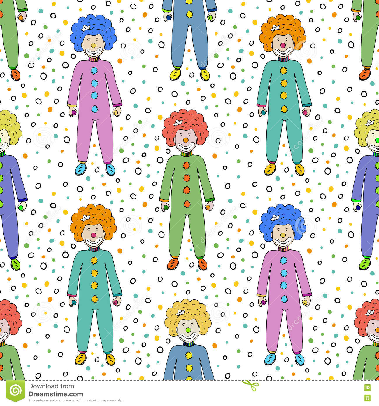 colorful clowns seamless pattern background kids textile design