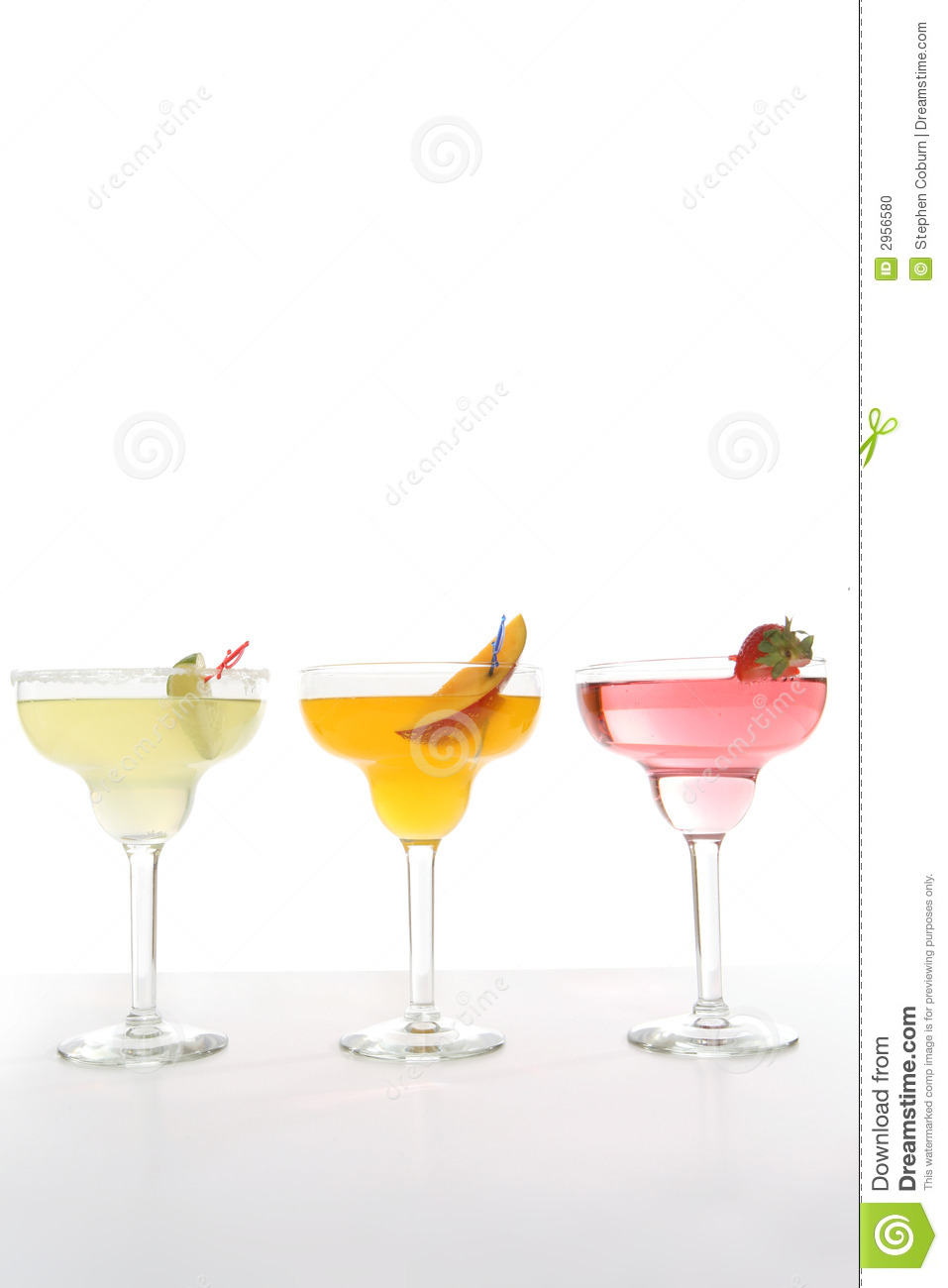 Three colorful cocktails over a white background.