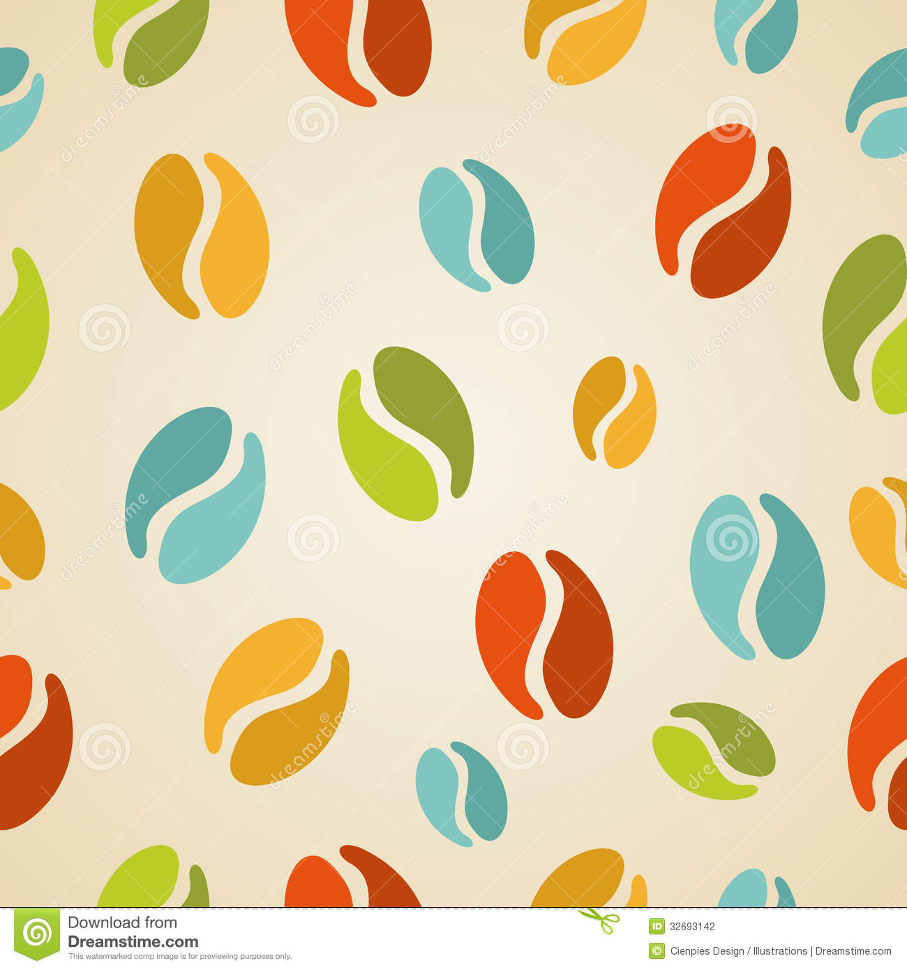 Colorful Coffee Beans Seamless Pattern Illustration Stock ...