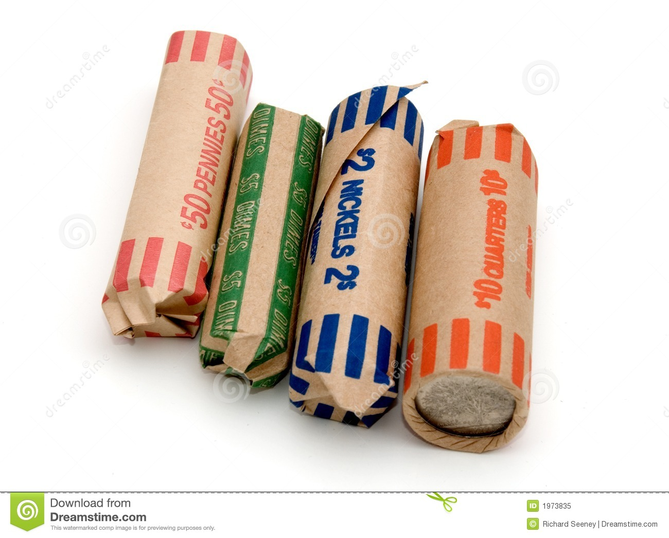 Colorful Coin Rolls Stock Image Image Of Wrap Colorfully 1973835