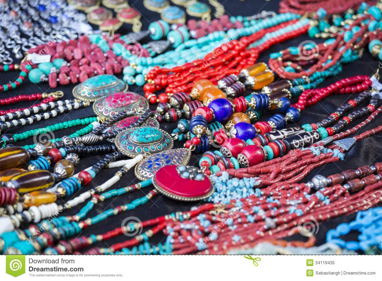Colorful collars, bracelets, beads, accessories and souvenirs