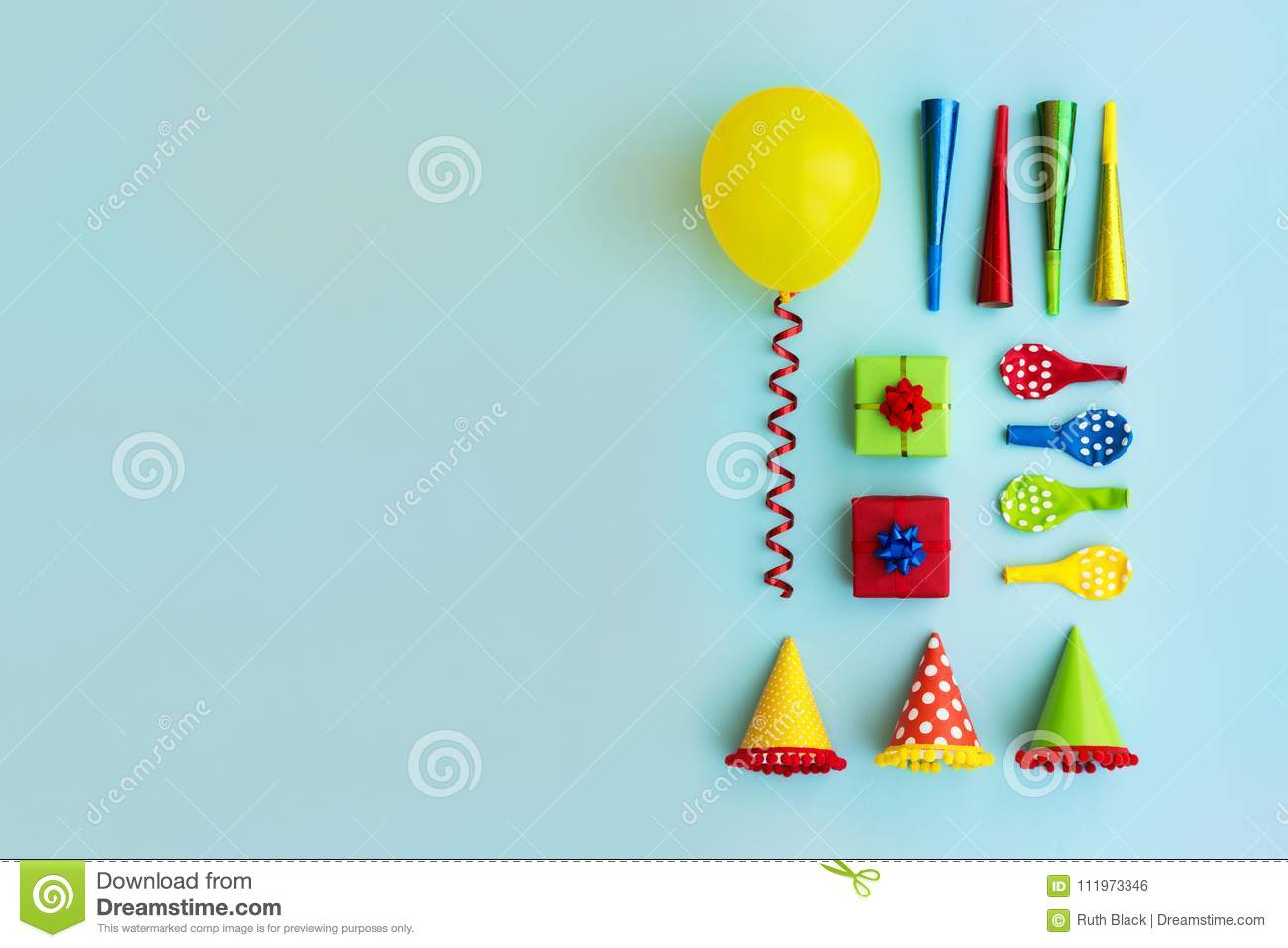 Colorful collection of birthday party objects