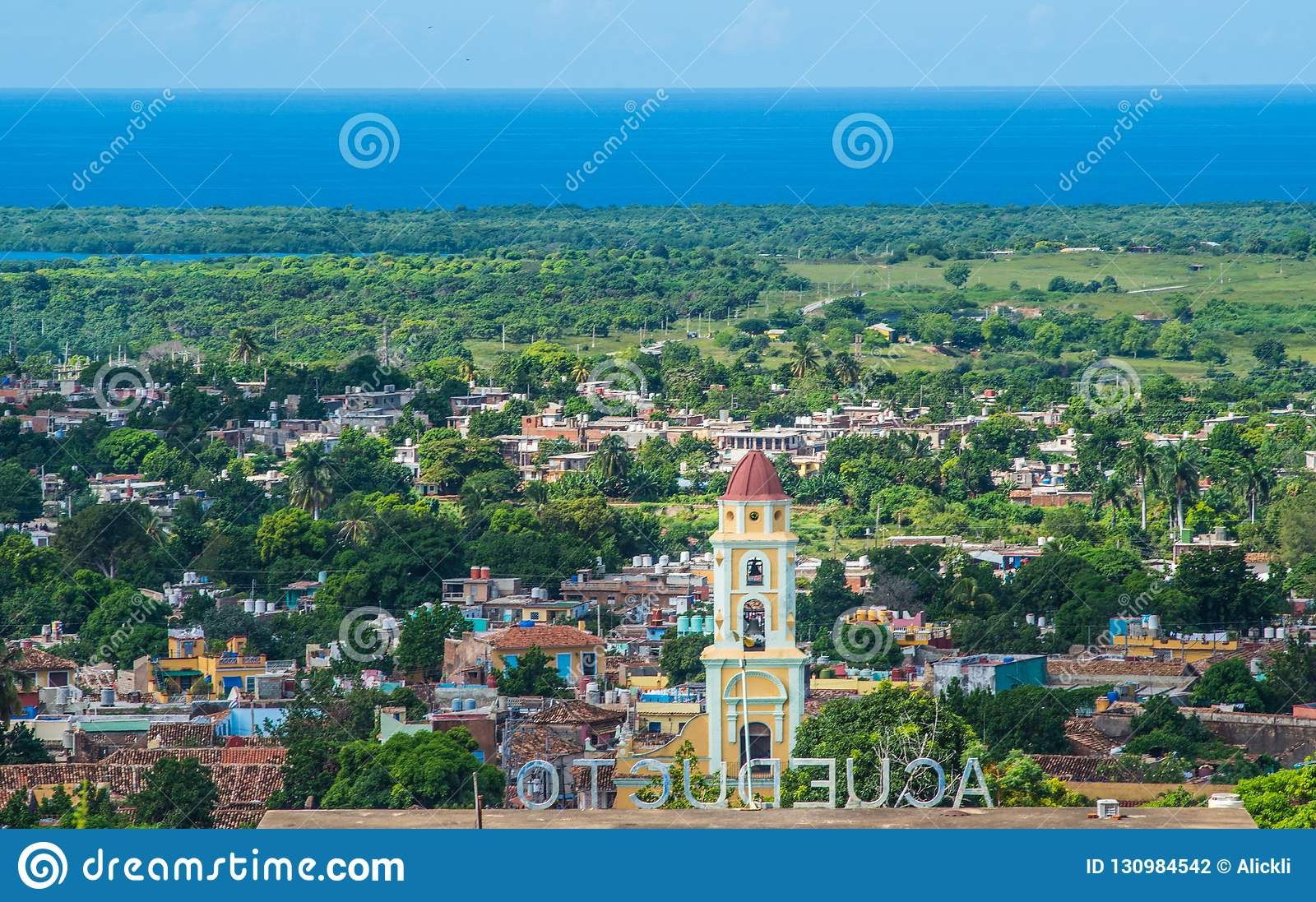 Colorful Colonial Caribbean city overlook with classic building and church, Trinidad, Cuba, America.