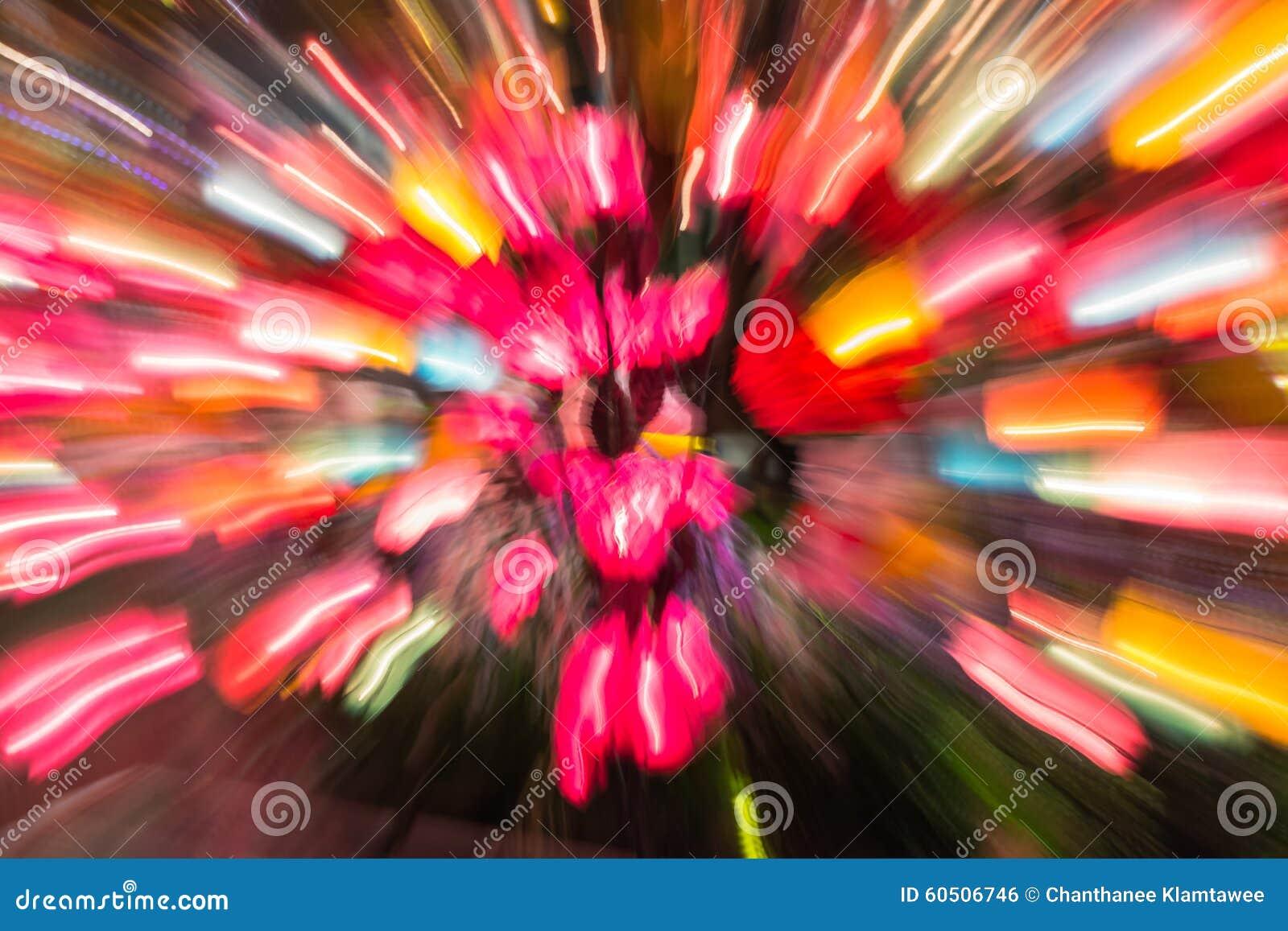 Colorful color of motion blur lamp light