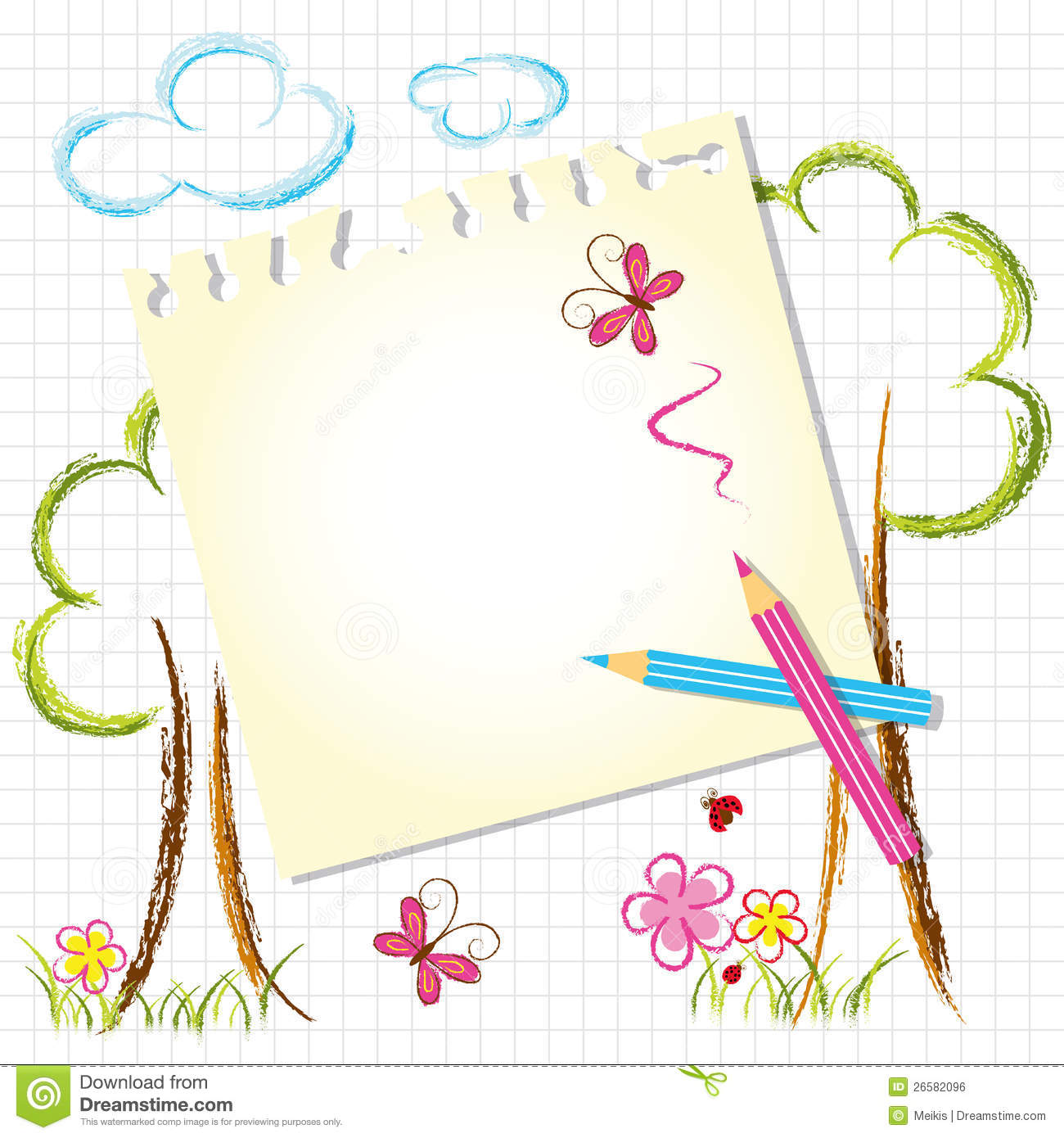Line Art Design Background : Colorful color pencil drawing background stock vector