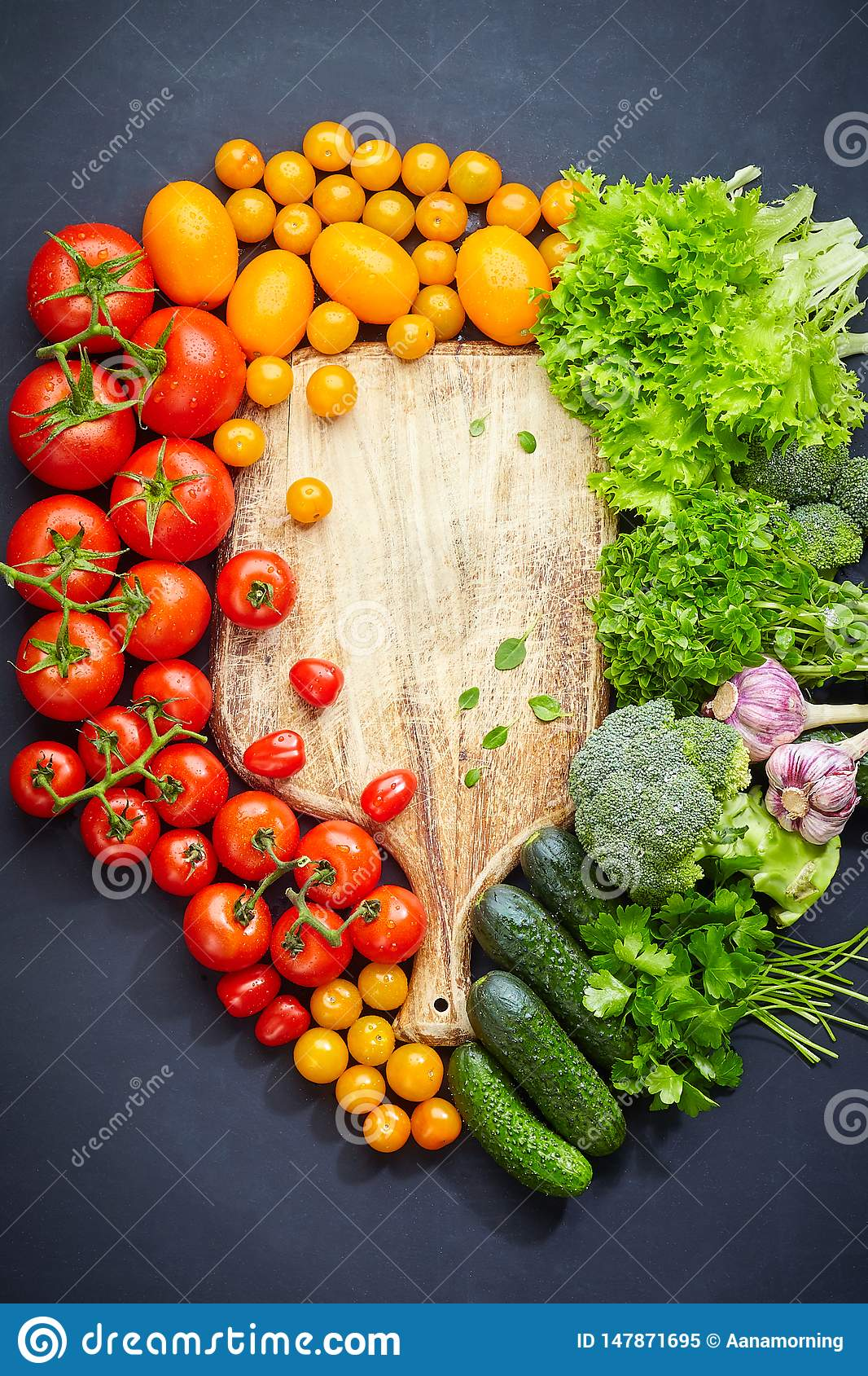 Colorful composition of fresh vegetables. Food or cooking concept. Top view
