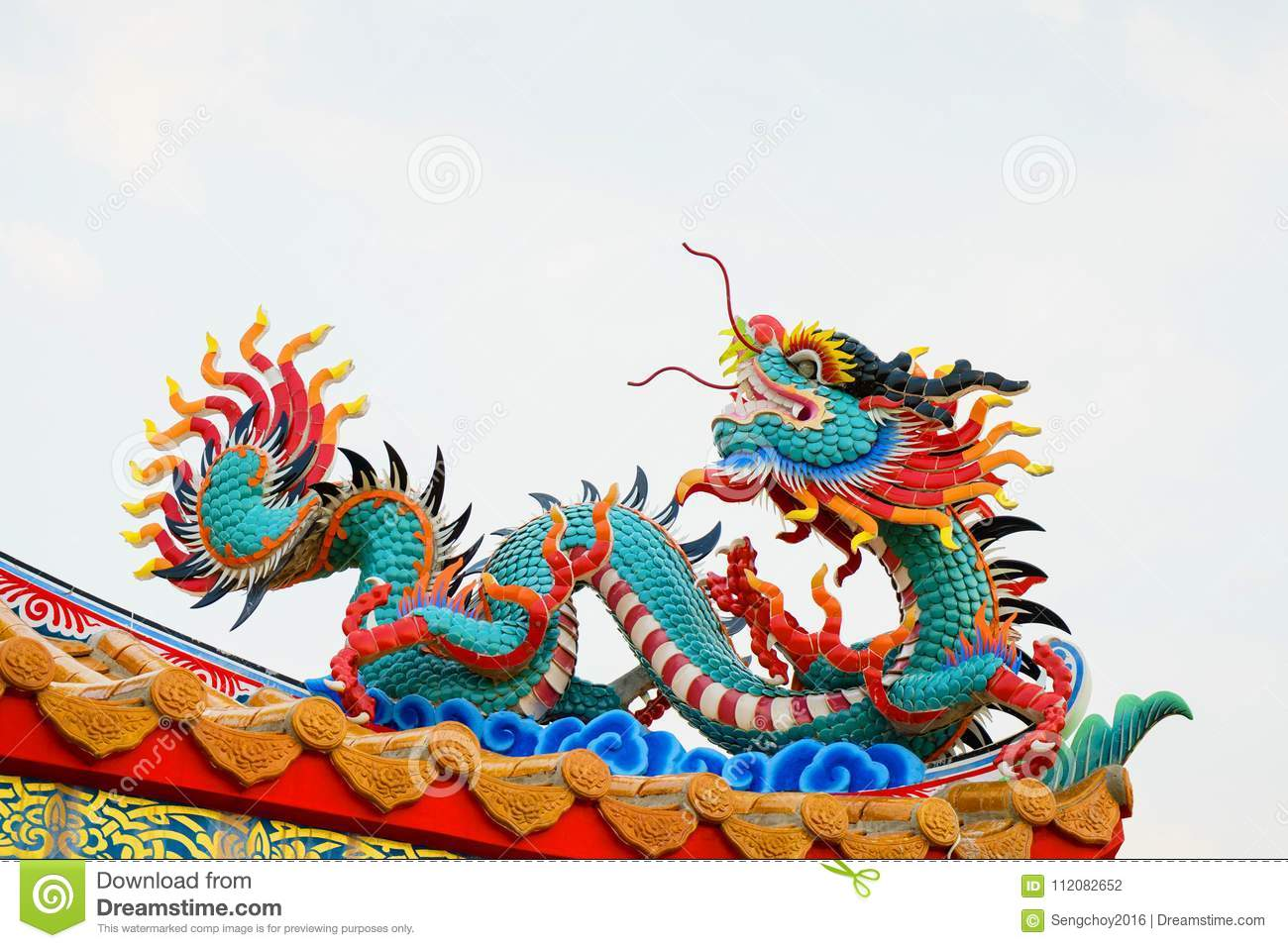 Colorful Concrete Chinese Dragon Statue Stock Photo Image Of