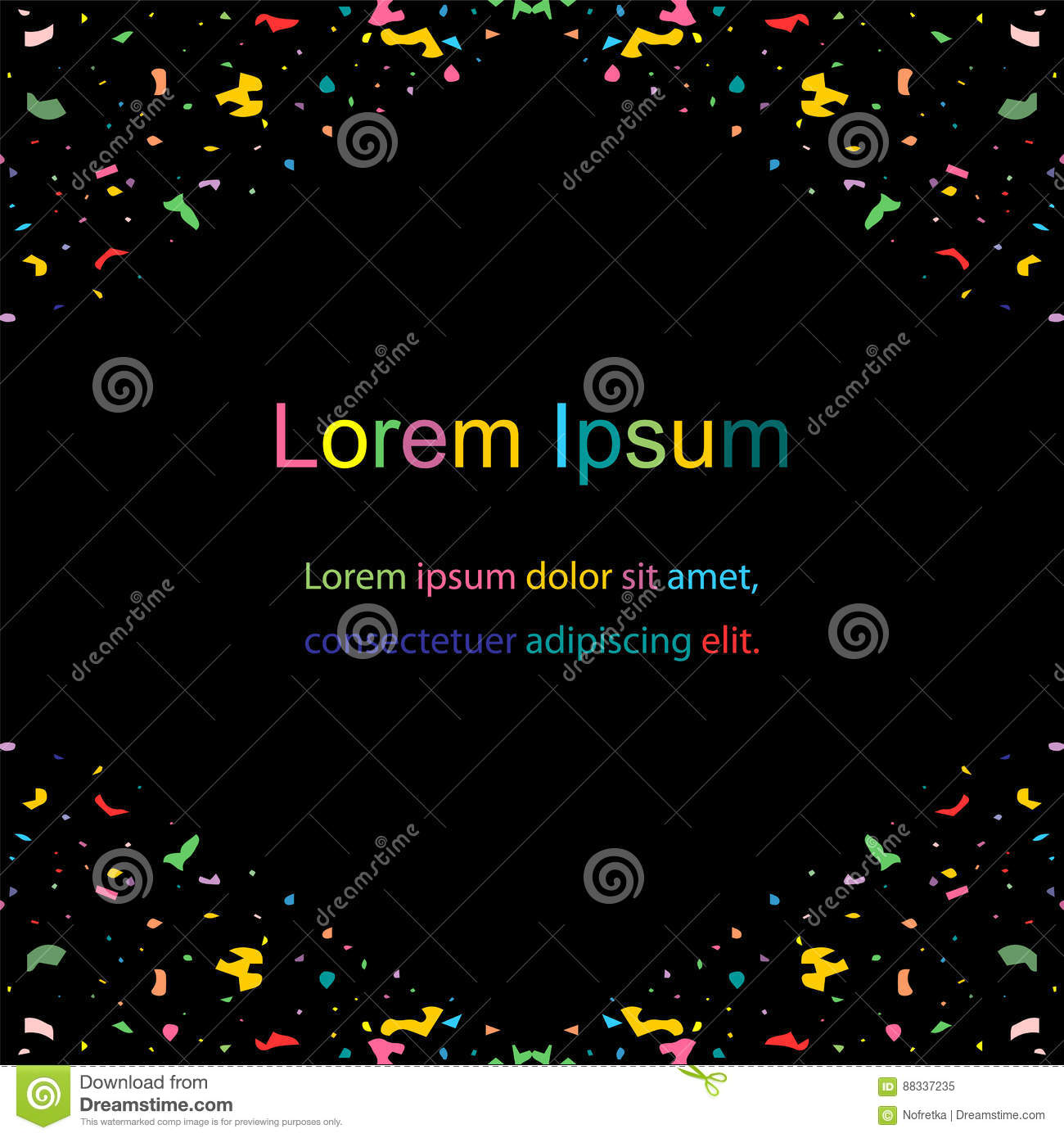 Colorful Confetti Decorate Corners On Black Template For Fliers - Templates for fliers