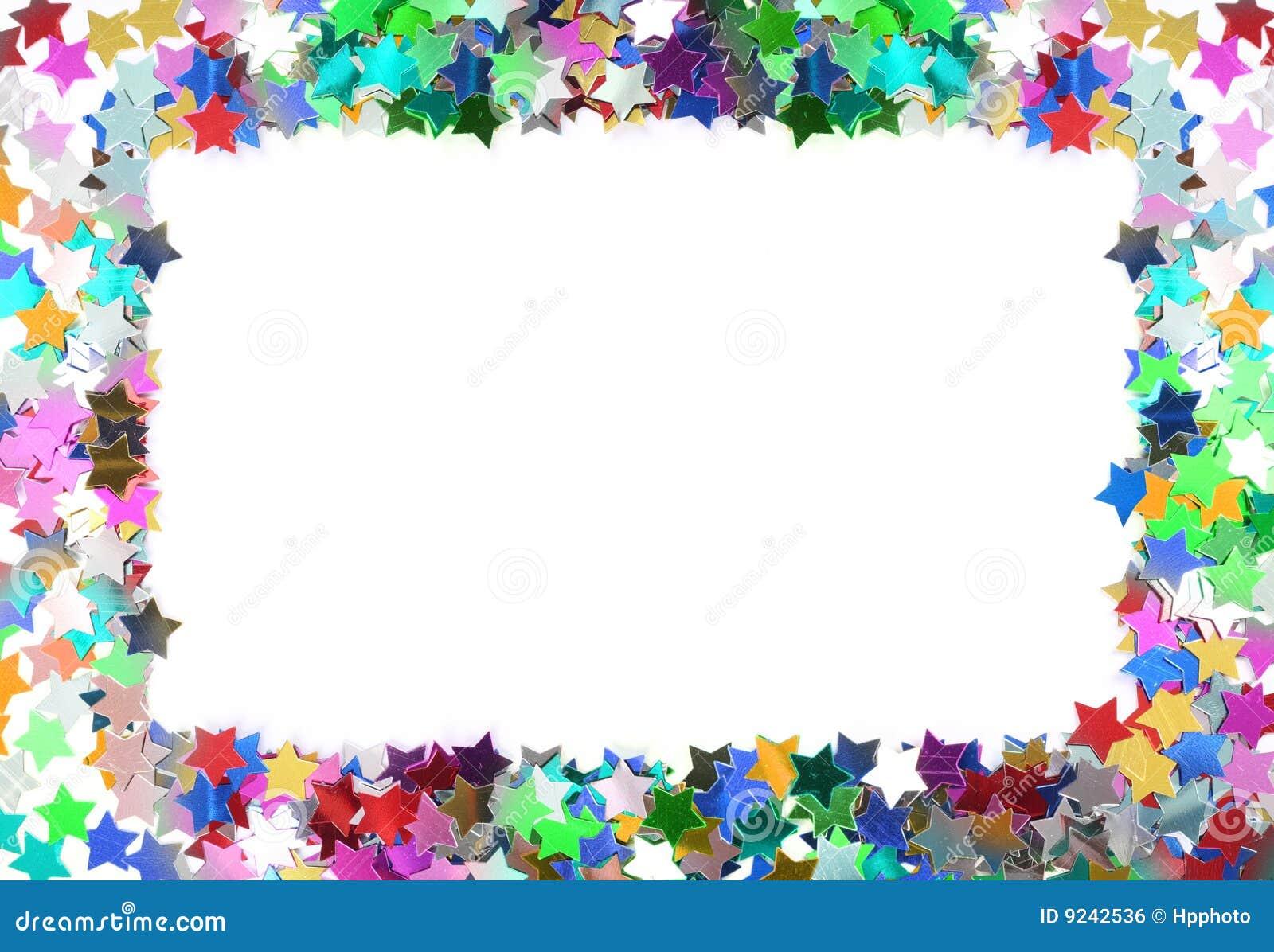 Colorful confetti frame. Stars in the form of confetti.