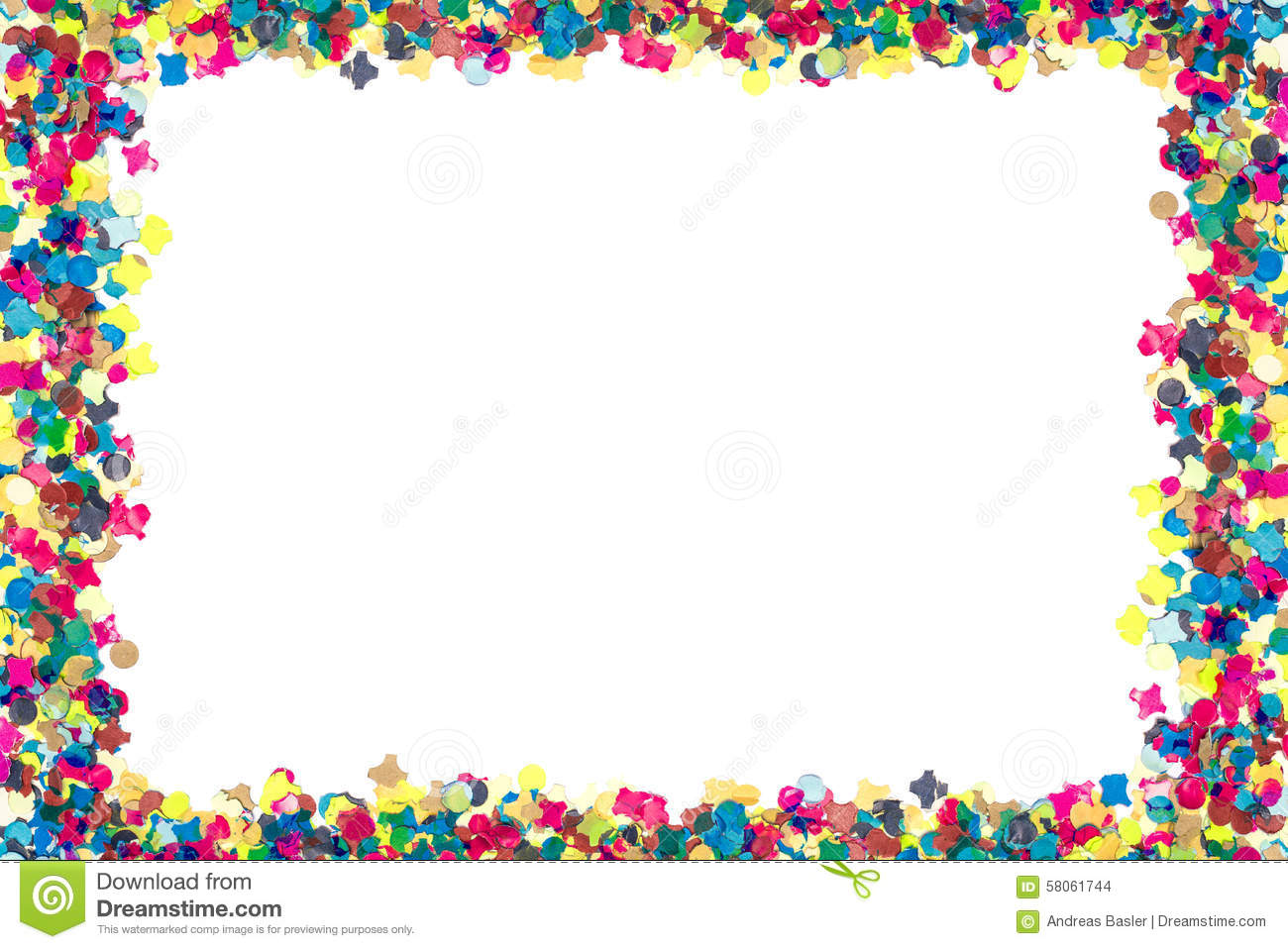 Colorful Confetti In Rectangular Frame Stock Photo - Image ...