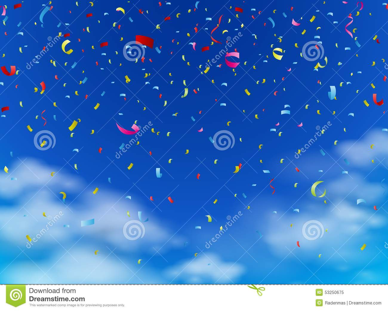 Download Colorful confetti on sky stock vector. Illustration of holiday - 53250675